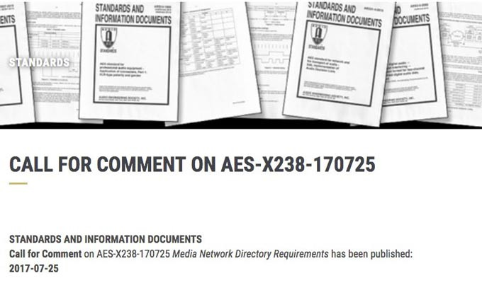 AES Issues Call for Comment on Media Network Directory Requirements
