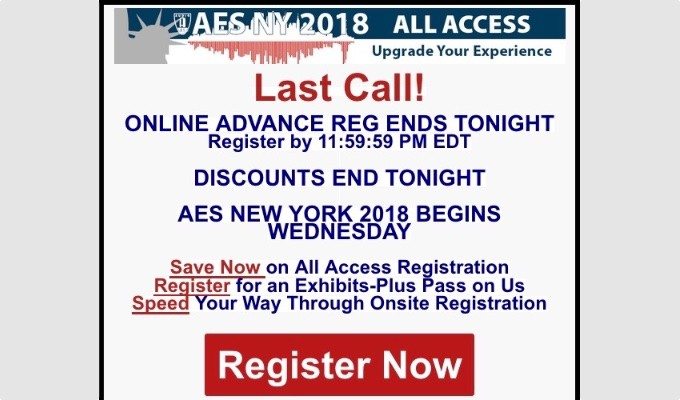 Last Call for AES New York Advance Registration