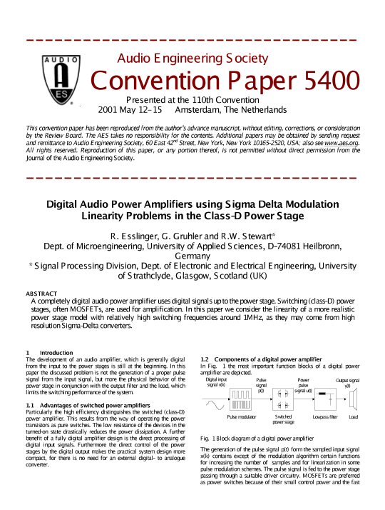 AES E-Library » Digital audio power amplifiers using Sigma