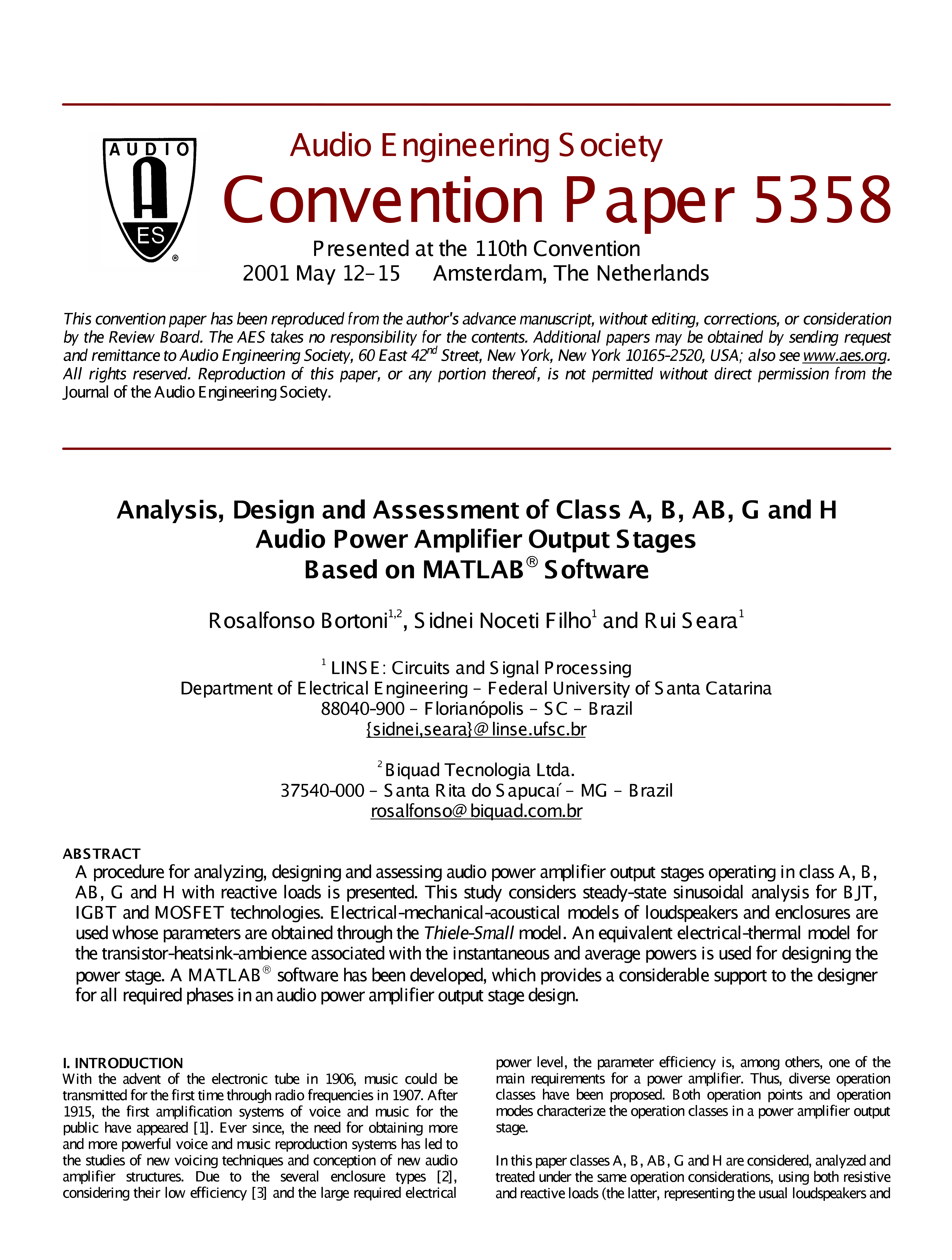 Aes E Library Analysis Design And Assessment Of Class A B Ab G Audio Amplifier Circuit H Power Output Stages Based On Matlab Software