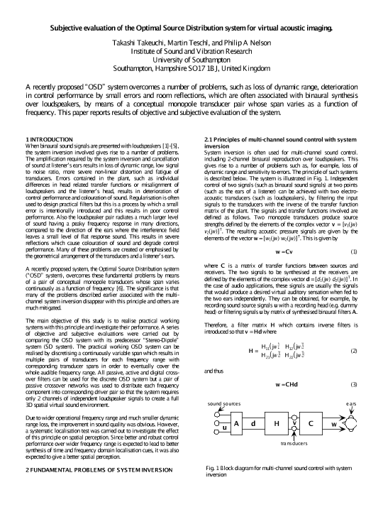 AES E-Library » Subjective evaluation of the Optimal Source