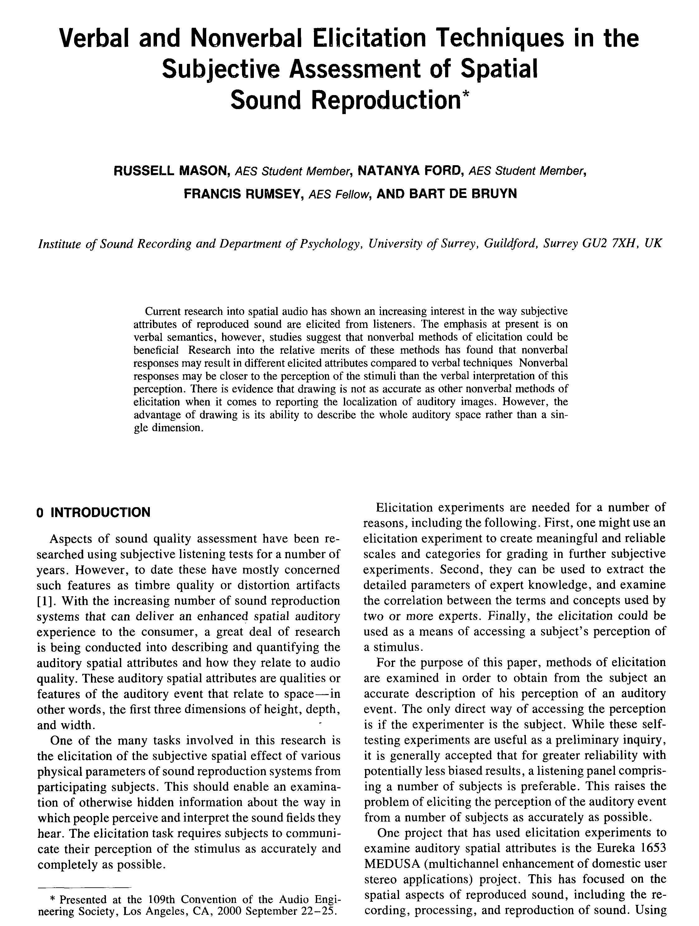 aes e library verbal and nonverbal elicitation techniques in the subjective assessment of spatial sound reproduction