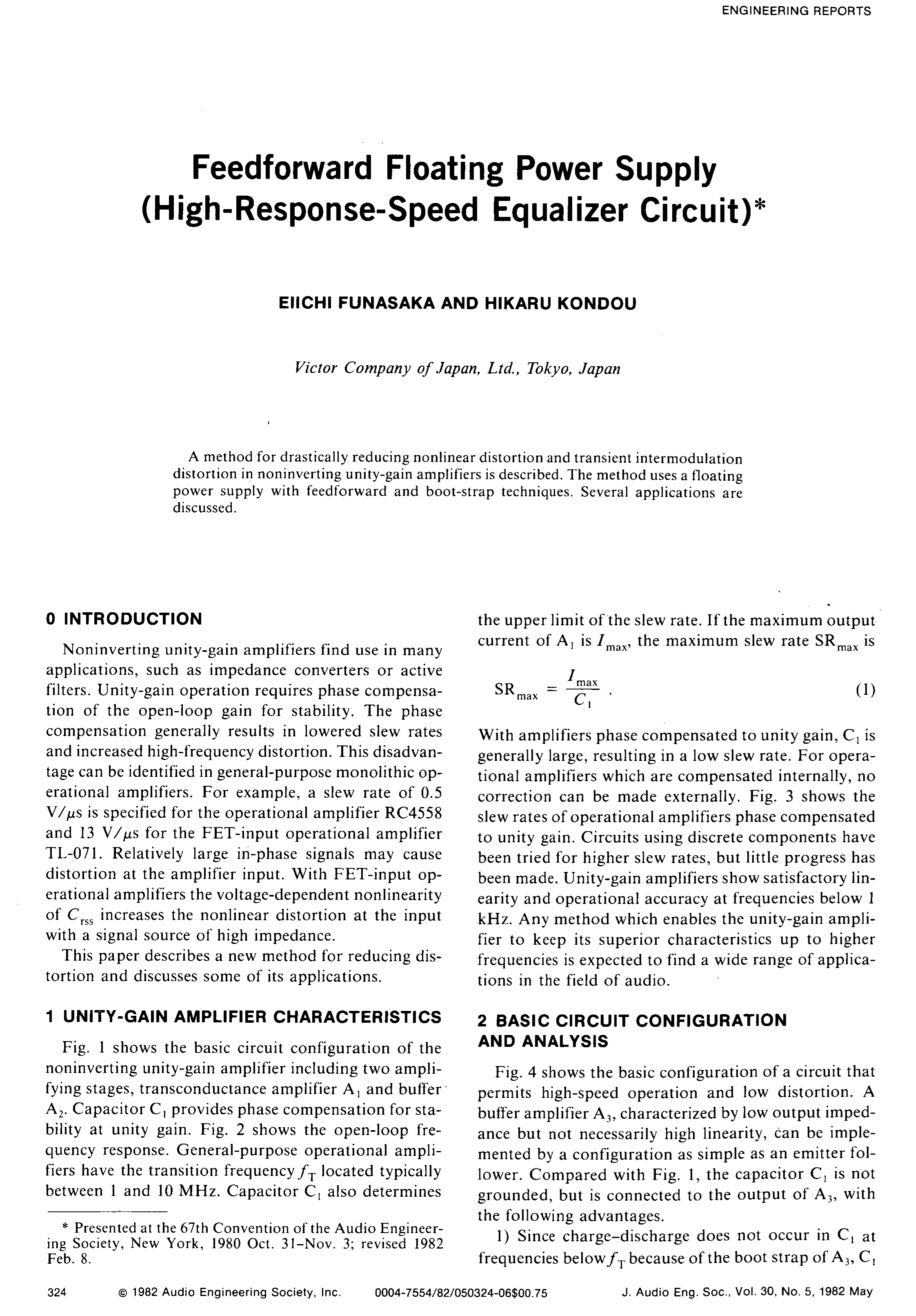 Aes E Library Feedforward Floating Power Supply High Response Equalizer Amplifier Circuit Speed