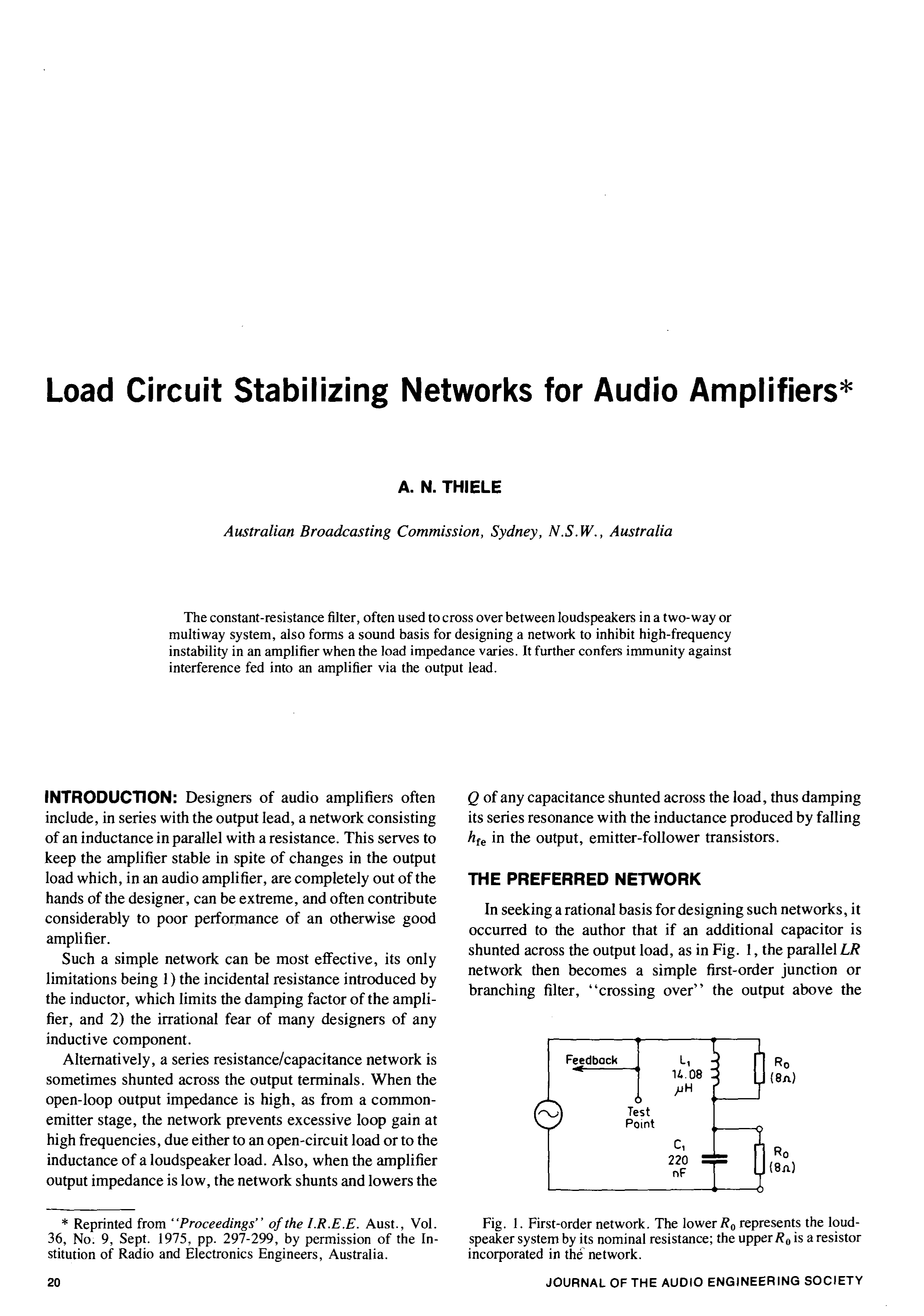 Values Of The Resistors And Capacitors For Our Thirdorder Circuit Aes E Library Load Stabilizing Networks Audio Amplifiers Reprint