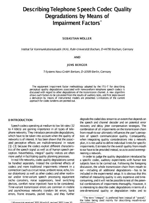 AES E-Library » Describing Telephone Speech Codec Quality ...