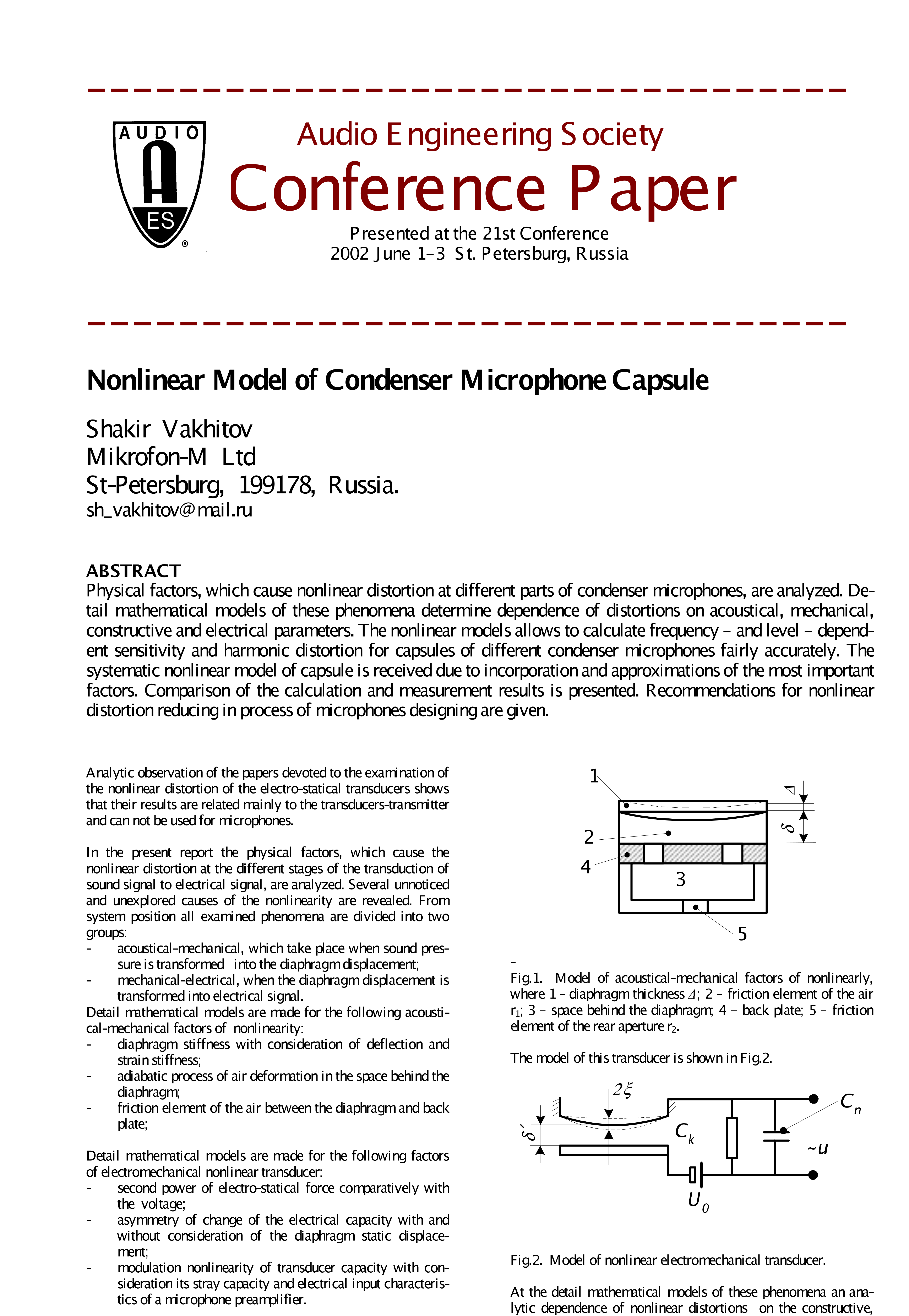 Aes E Library Nonlinear Model Of Condenser Microphone Capsule Diagram