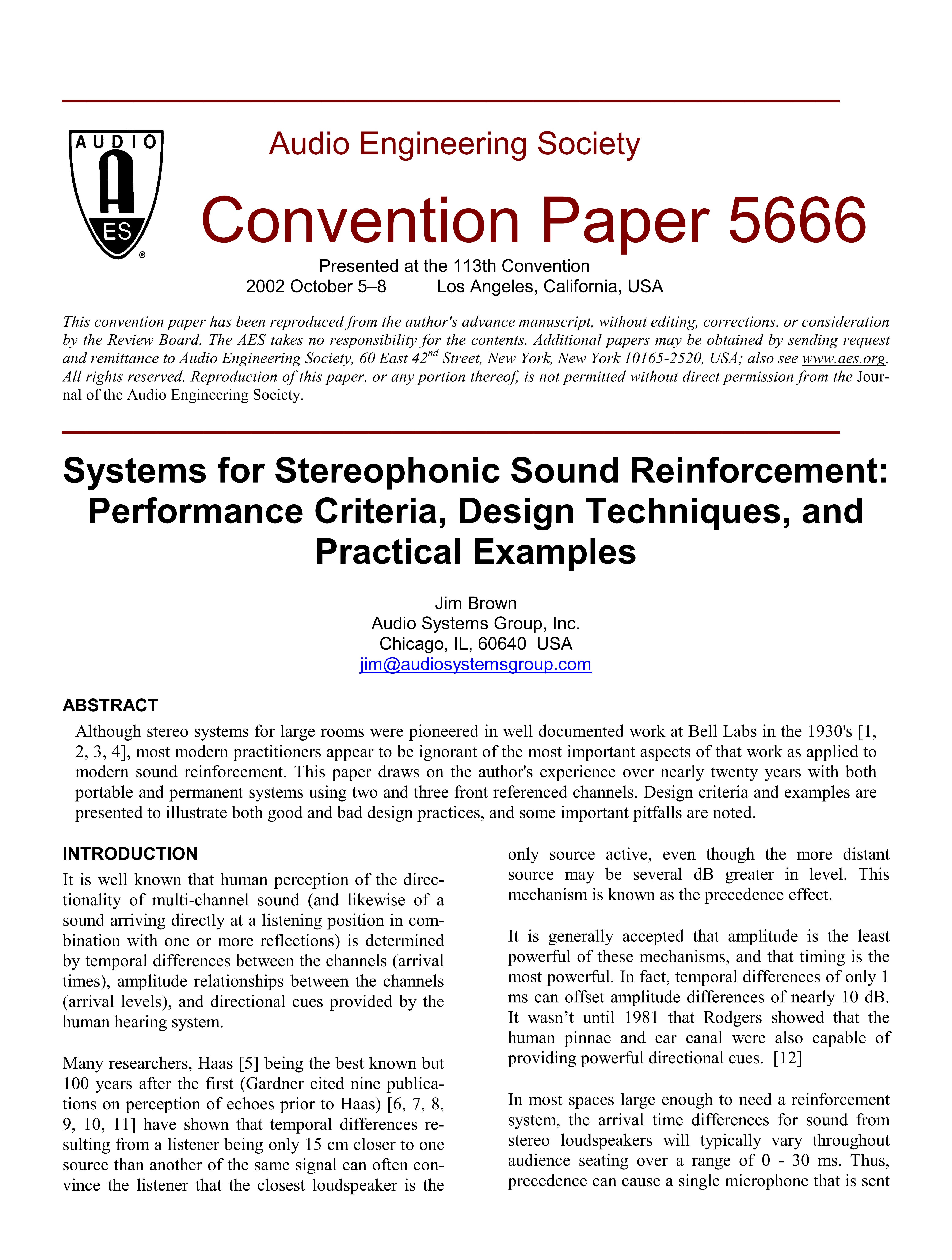 AES E-Library » Systems for Stereo Sound Reinforcement