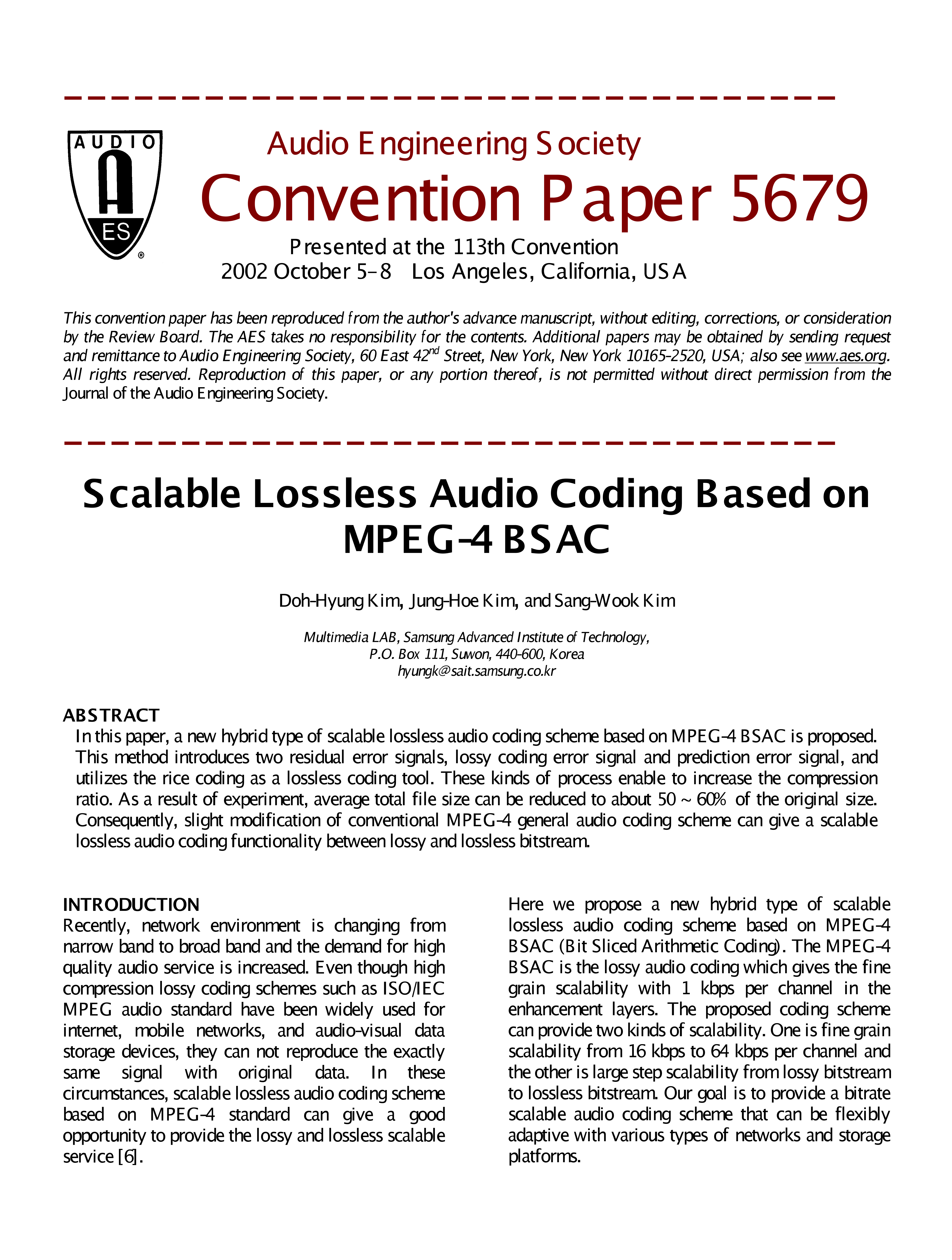 AES E-Library » Scalable Lossless Audio Coding Based on MPEG-4 BSAC