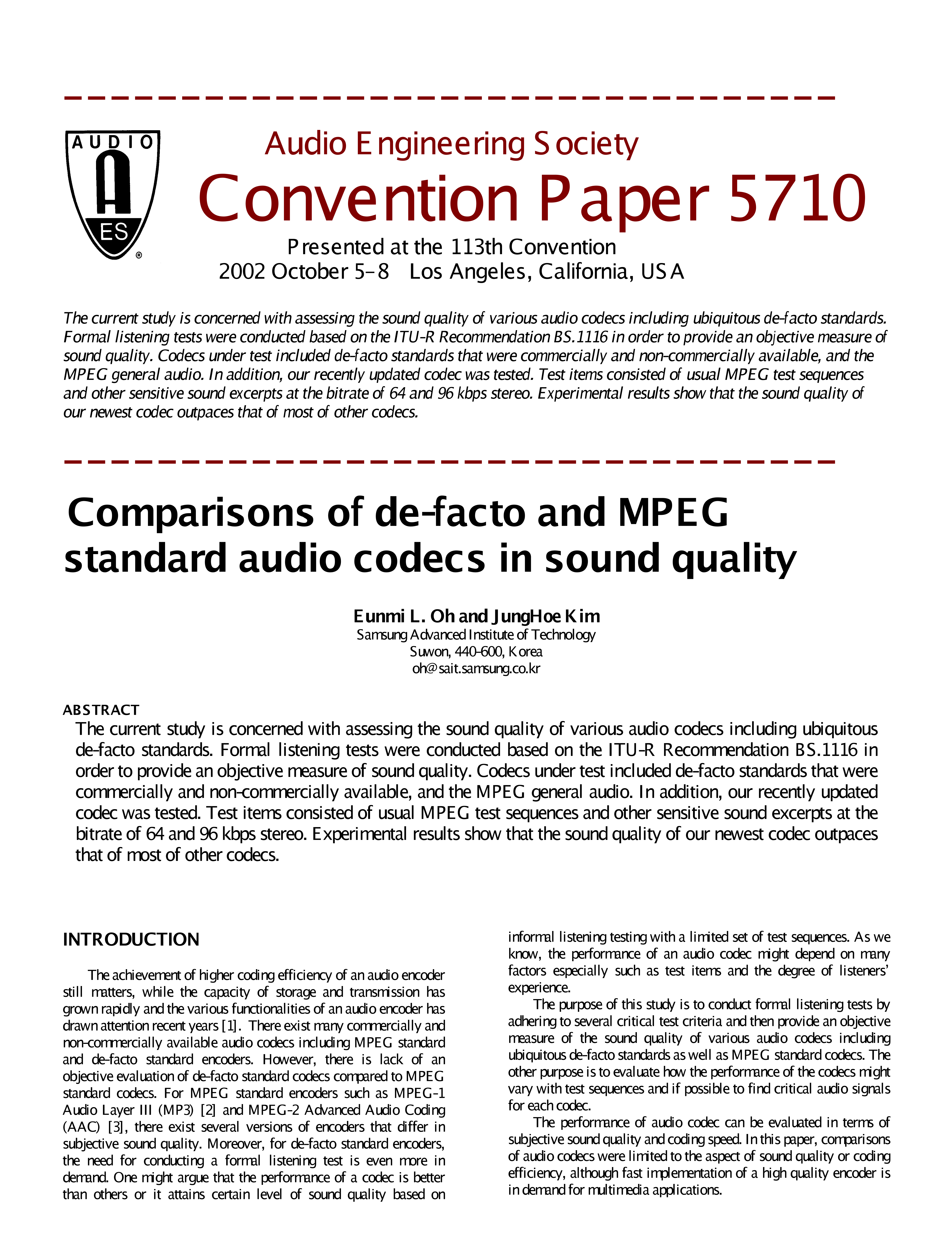 AES E-Library » Comparisons of De-Facto and MPEG Standard