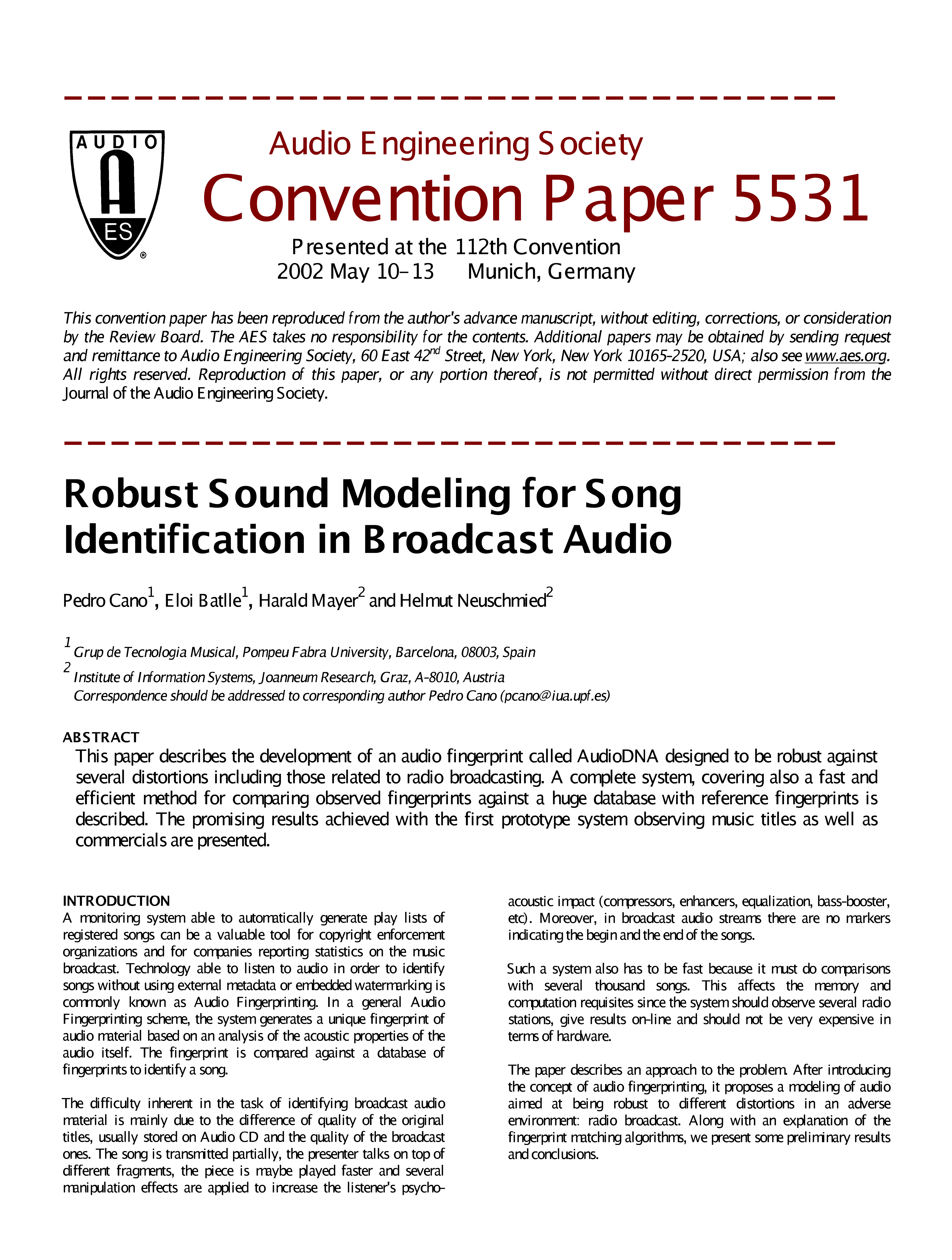 Aes E Library Robust Sound Modelling For Song Identification In Boosting The Output Power Of Low Fm Broadcast Band Exciters Is Audio