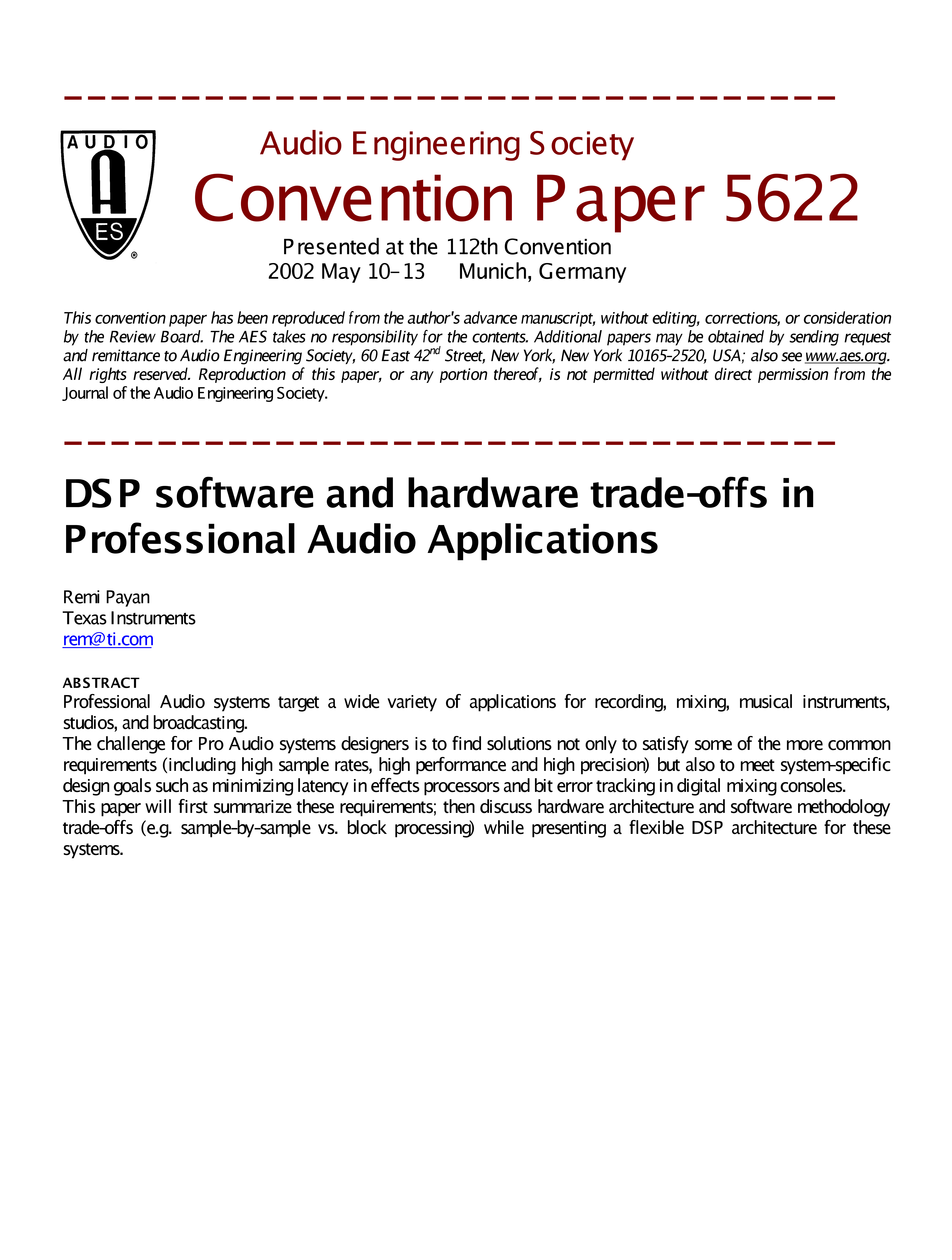 AES E-Library » DSP Software and Hardware Trade-offs in Professional