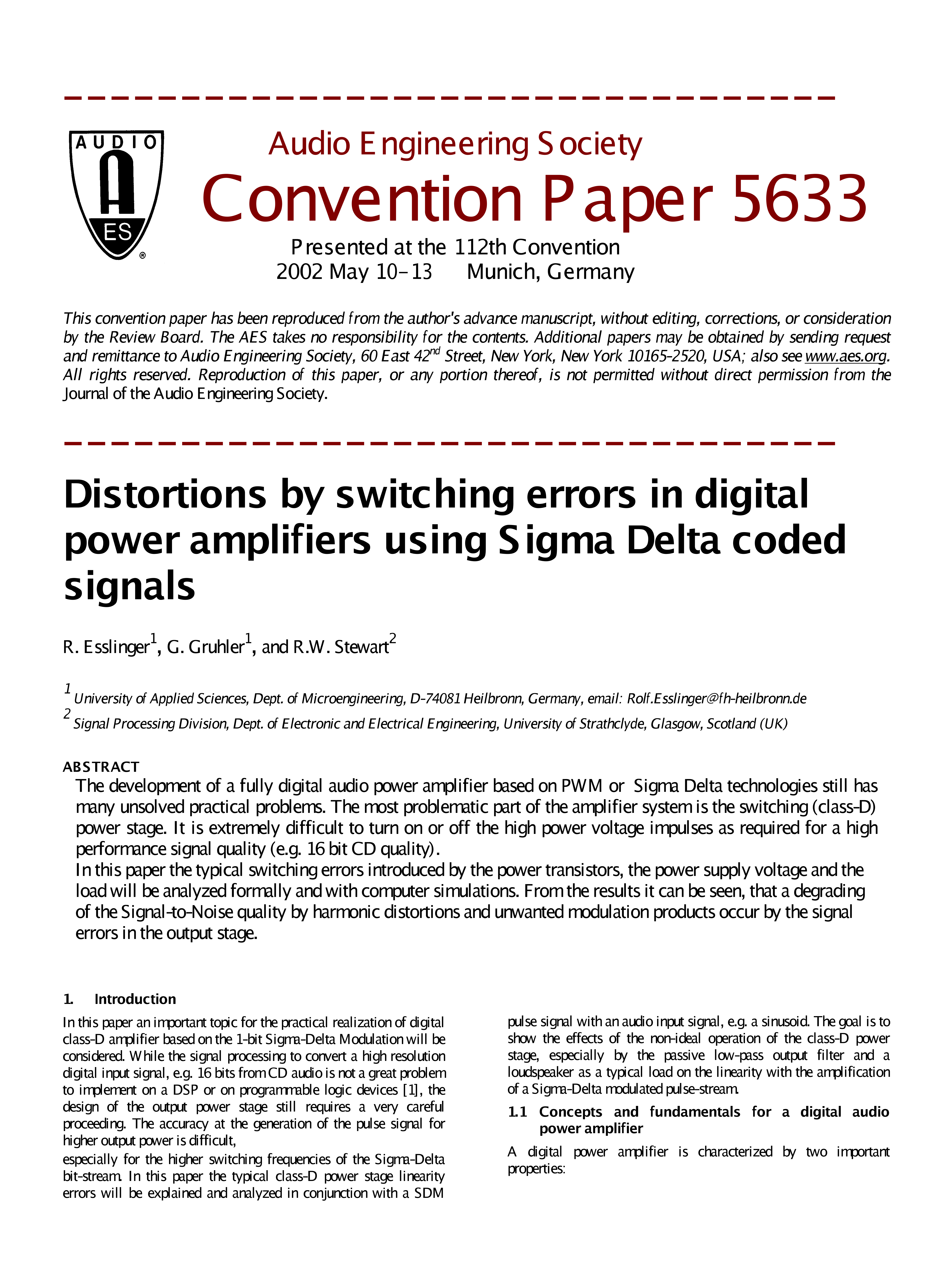 Aes E Library Distortions By Switching Errors In Digital Power Feedforward Noise Cancellation Rejects Supply Ee Times Amplifiers Using Sigma Delta Coded Signals