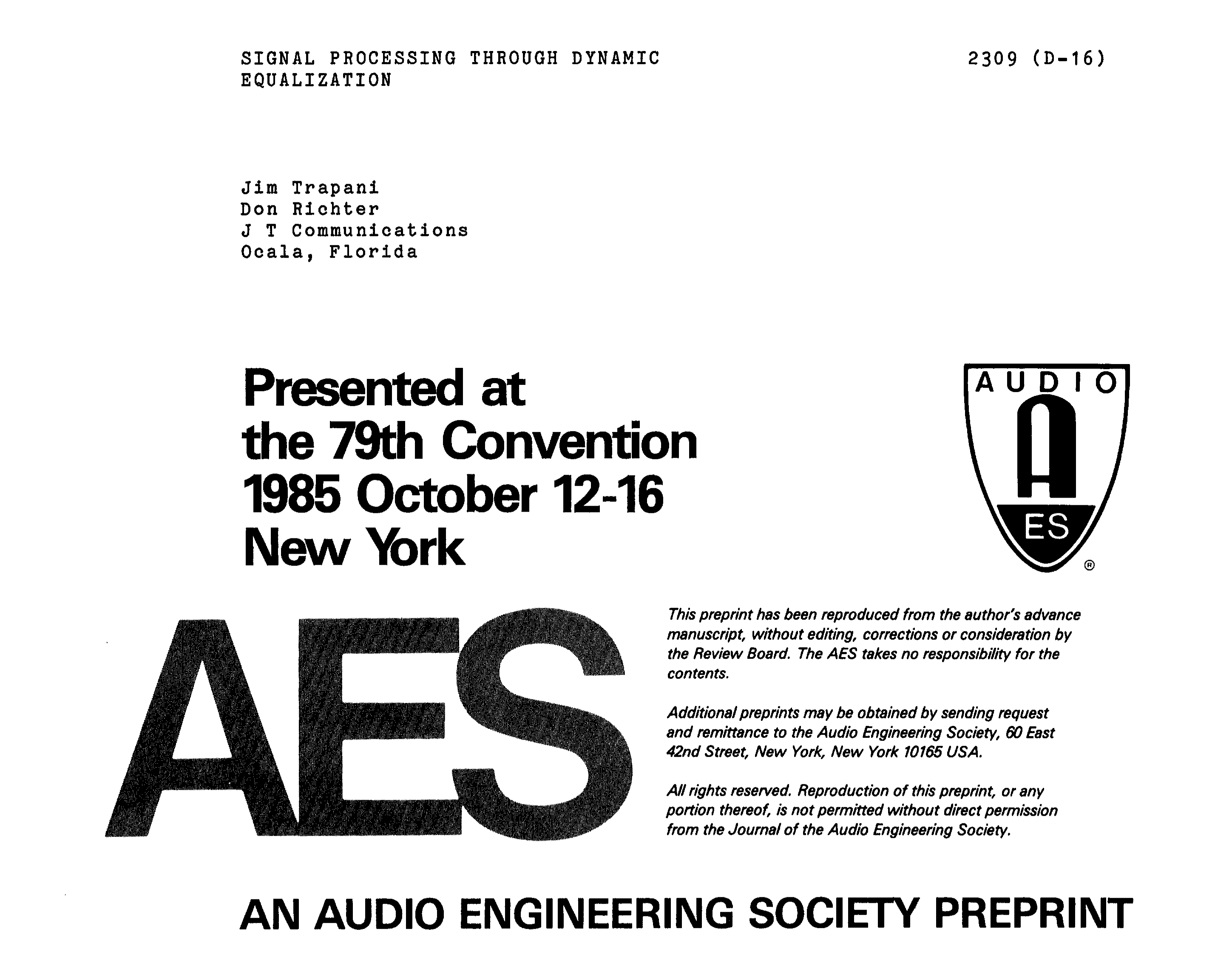 Aes E Library Signal Processing Through Dynamic Equalization 10 Band Graphic Equalizer Using Gyrator Circuit