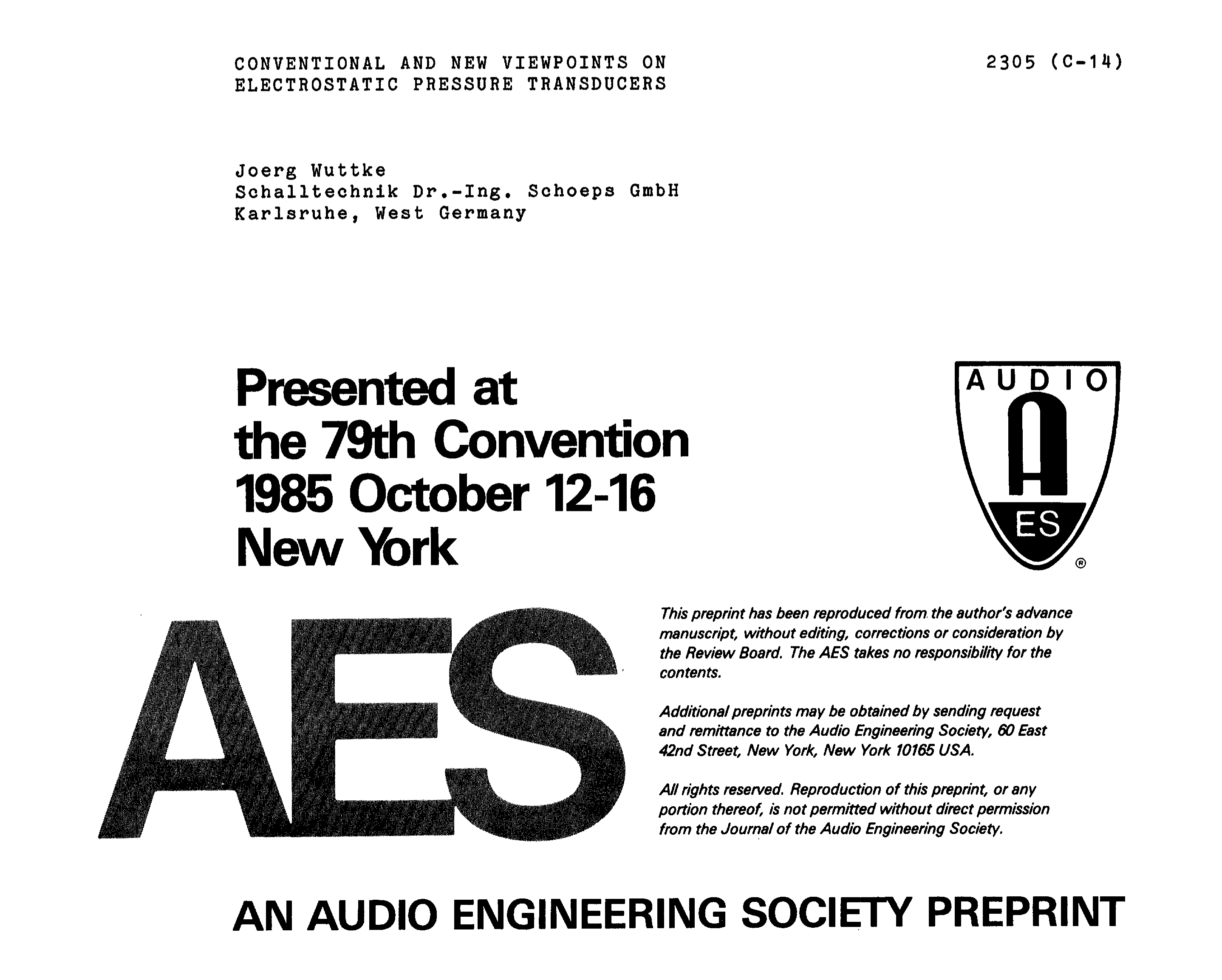 AES E-Library » Conventional and New Viewpoints on