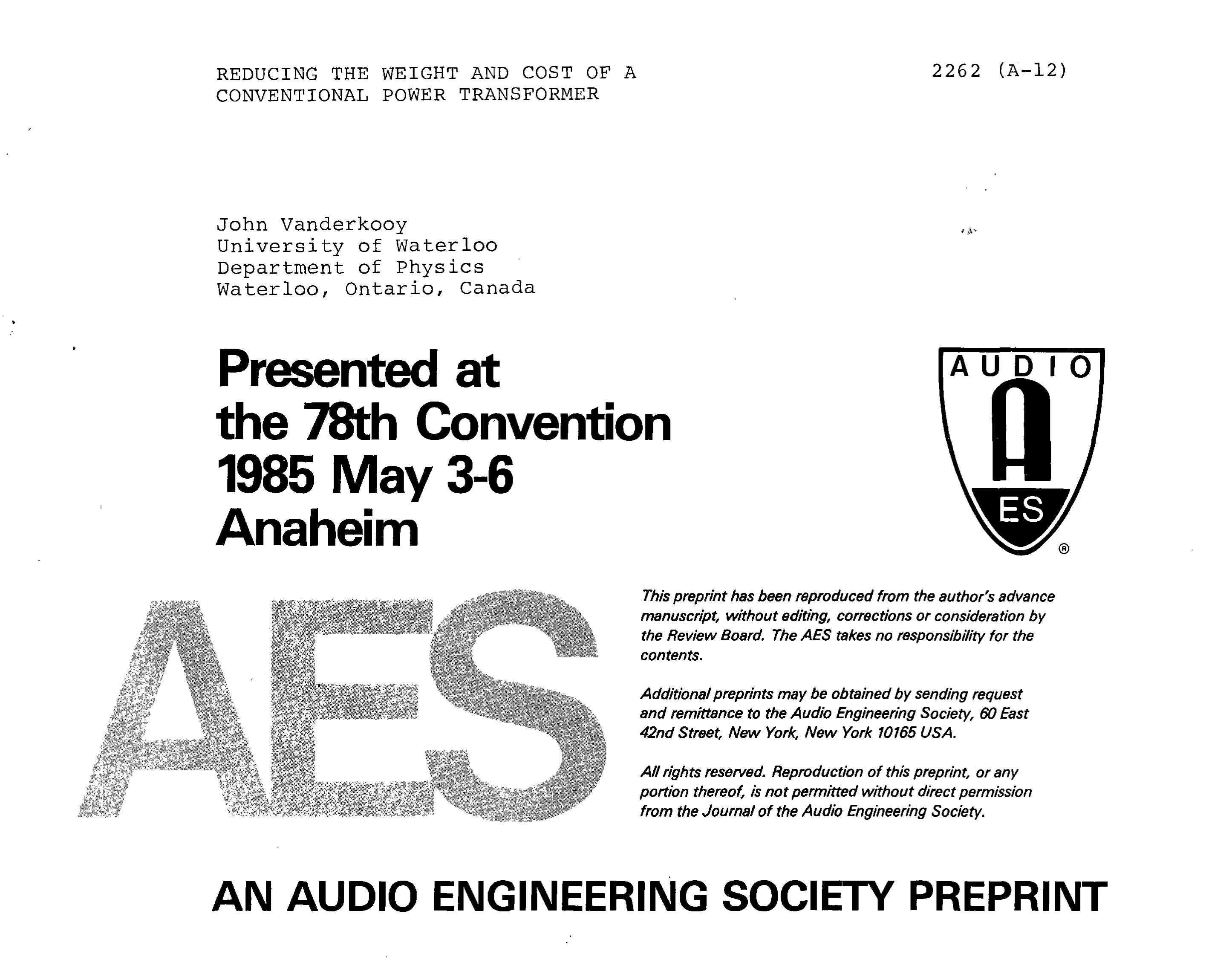 Aes E Library Reducing The Weight And Cost Of A Conventional Power Transformer Software For Analysis Rectifier Circuit