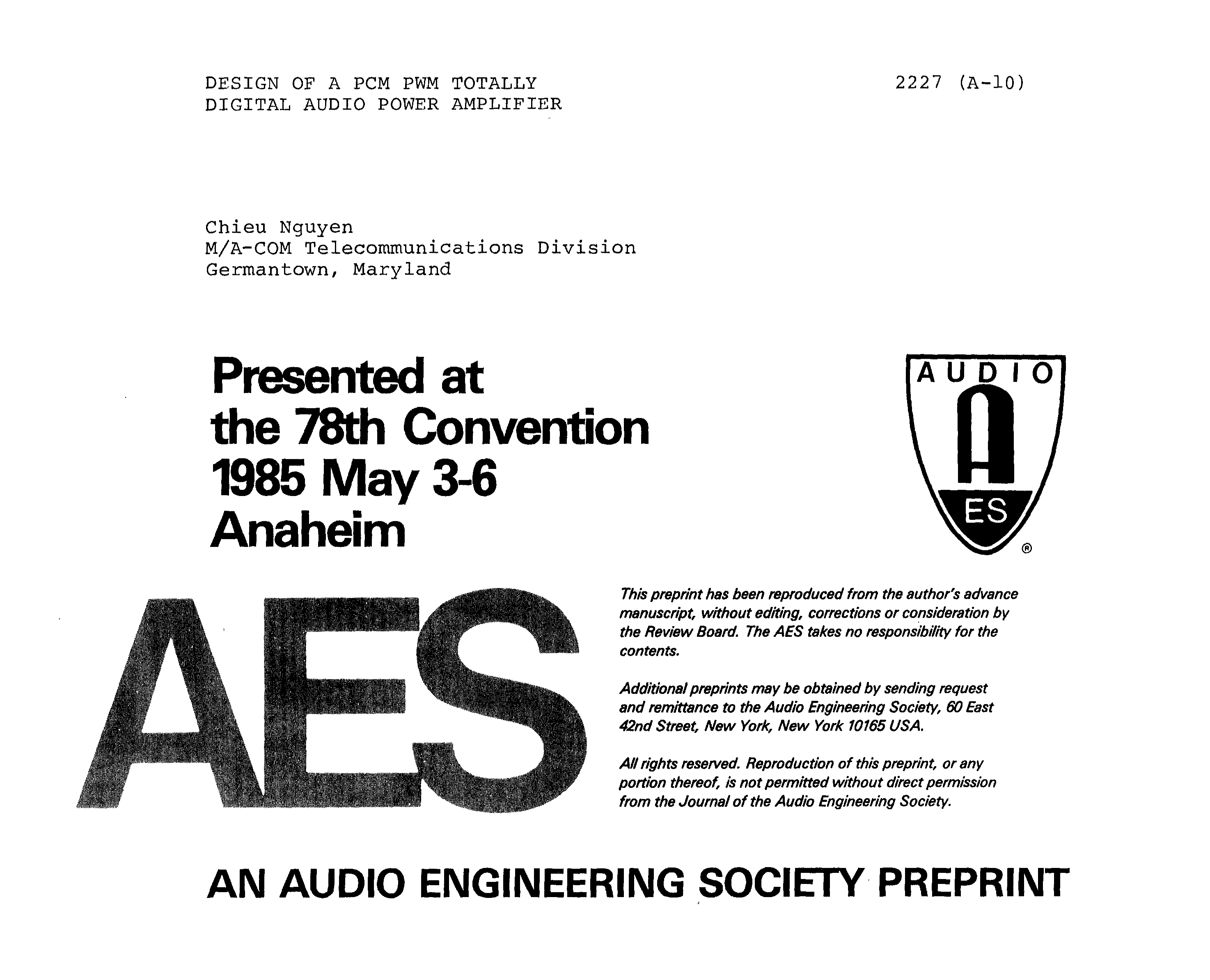 Aes E Library Design Of A Pcm Pwm Totally Digital Audio Power And Testing Highspeed Optical Integrated Circuits At Fujitsu Amplifier