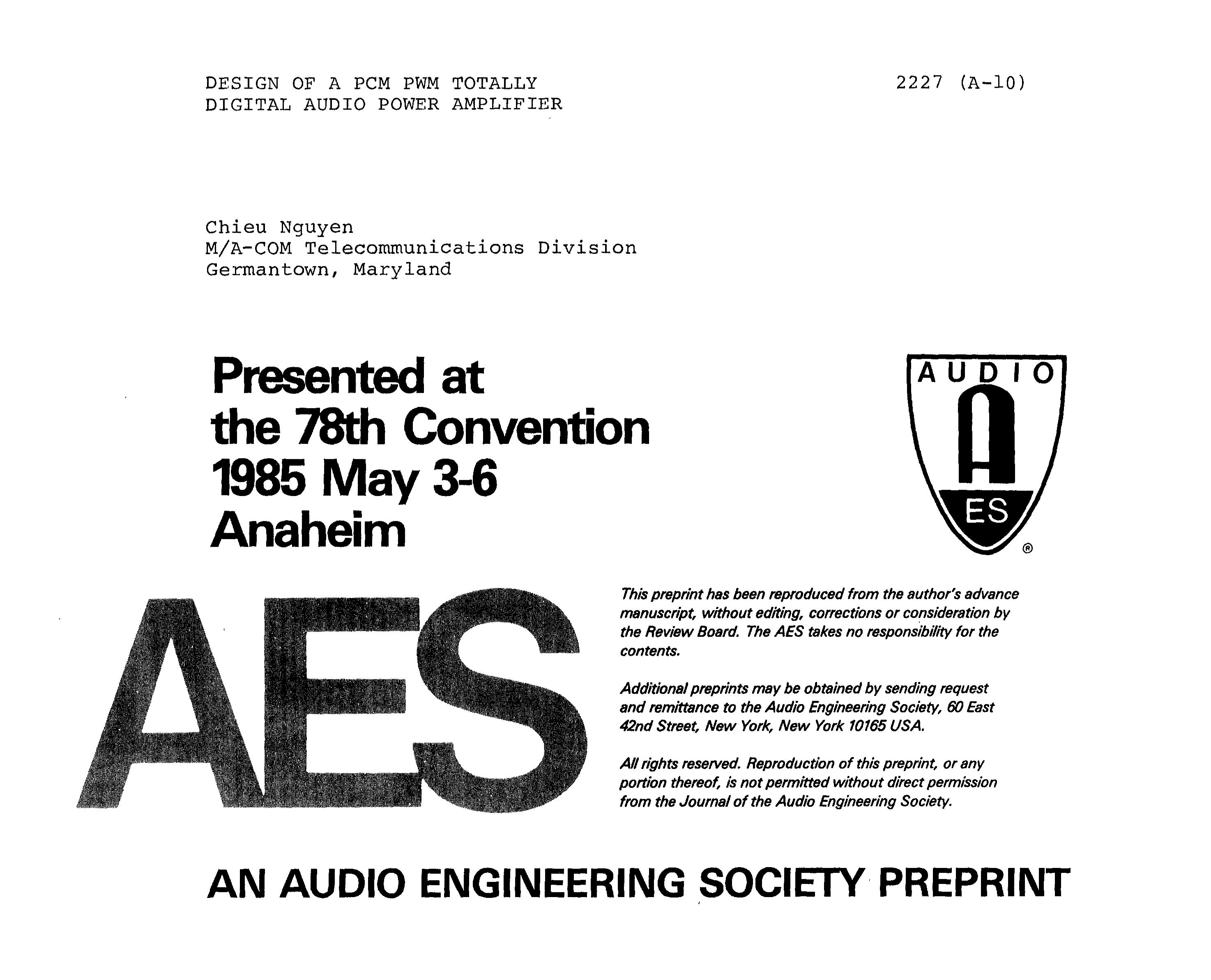 Aes E Library Design Of A Pcm Pwm Totally Digital Audio Power Wiring Diagram Single Chip 25 Watt Mono Classd Amplifier