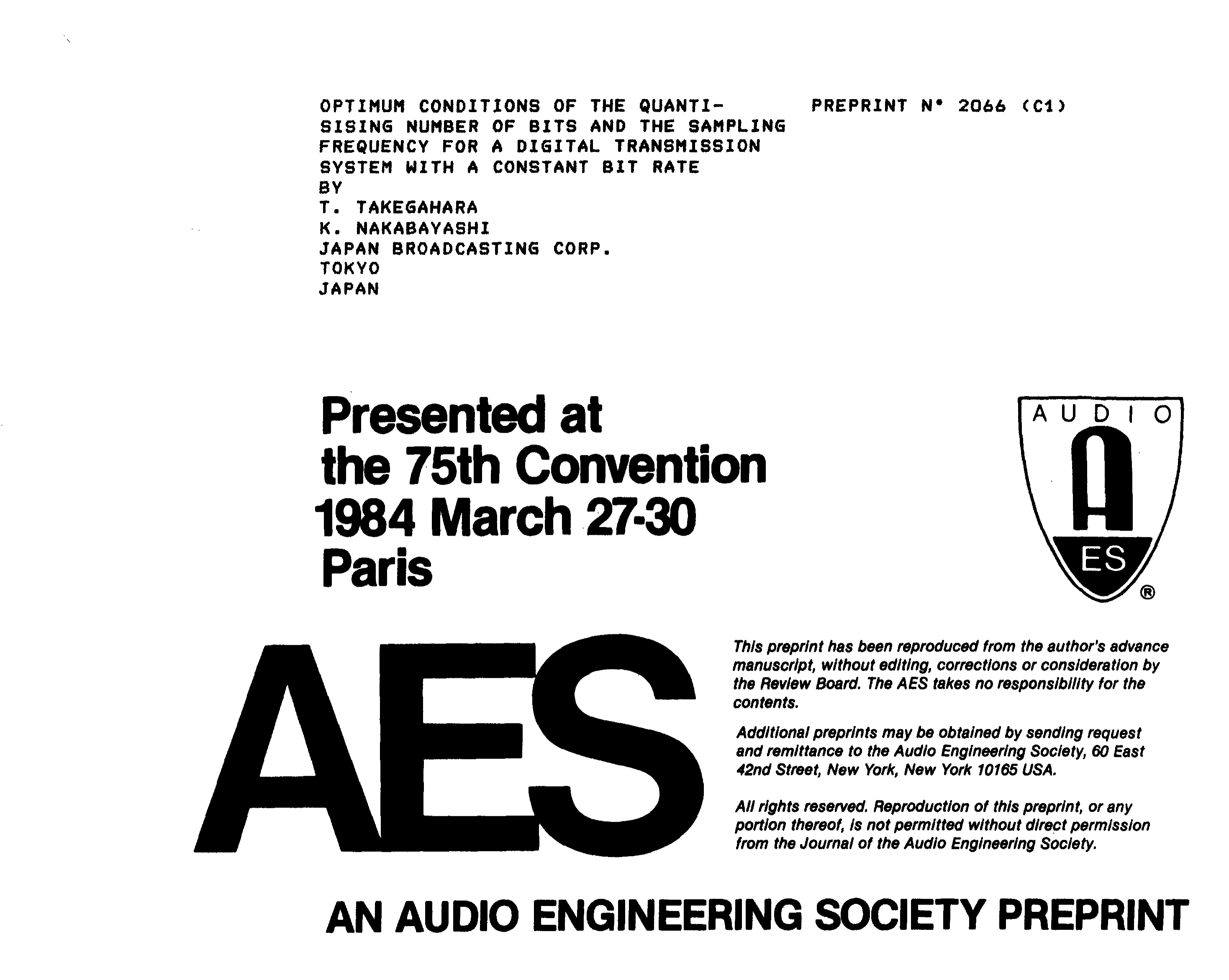AES E-Library » Optimum Conditions of the Quantising Number of Bits