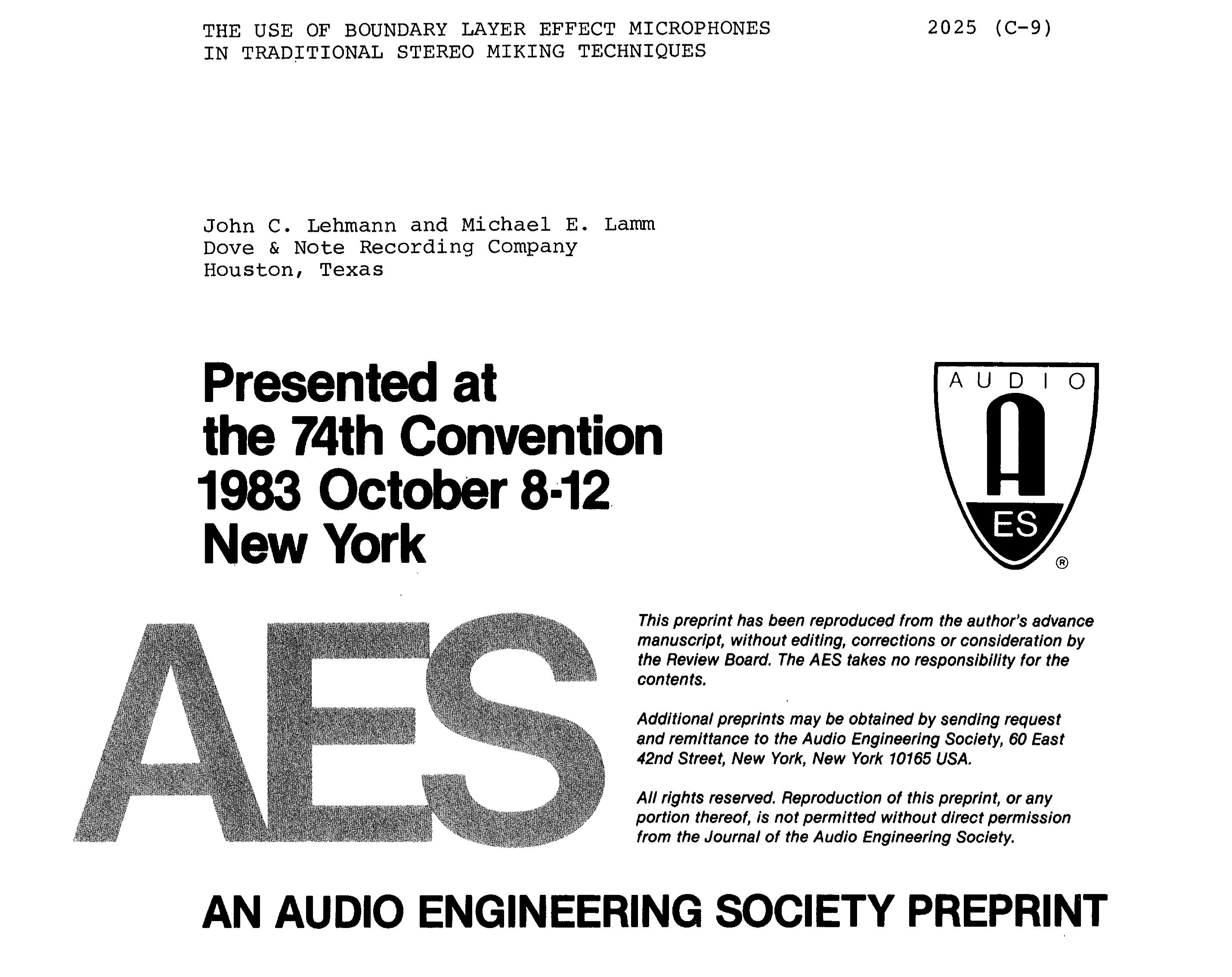 AES E-Library » The Use of Boundary Layer Effect Microphones