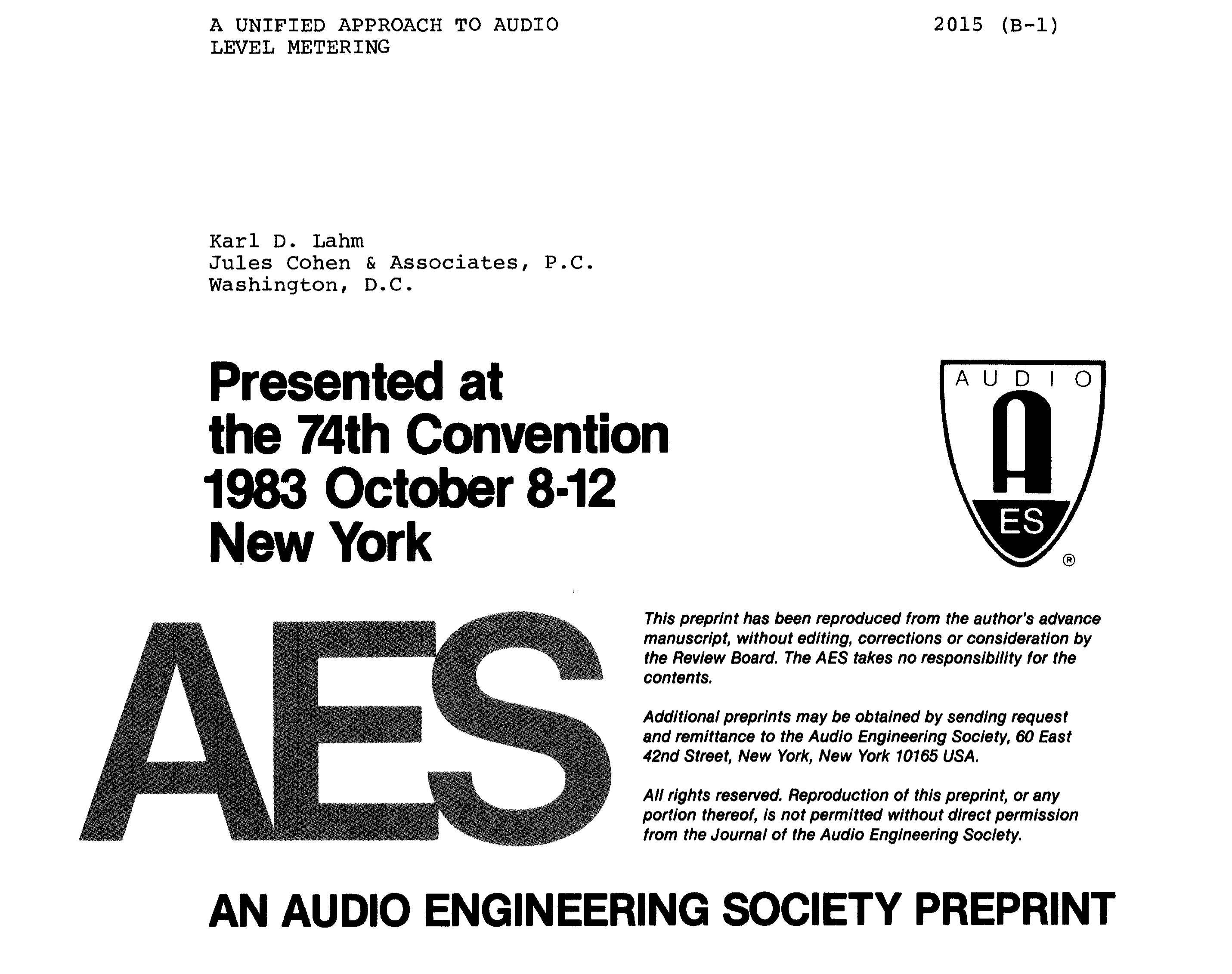 Aes E Library A Unified Approach To Audio Level Metering Simple Vu Meter Analog Circuit