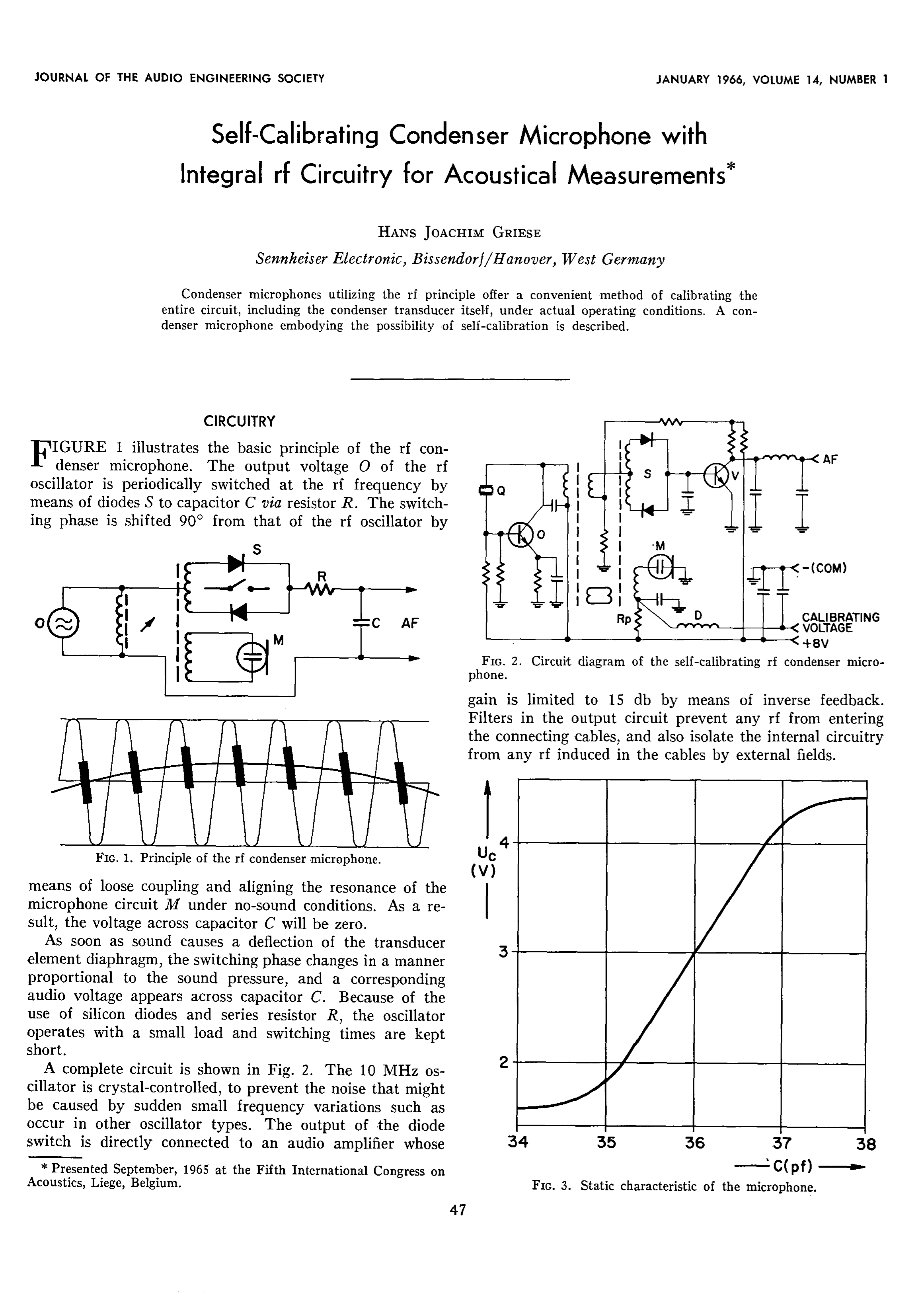 Aes E Library Self Calibrating Condenser Microphones With Sennheiser Microphone Wiring Diagram Integrated R F Circuitry For Acoustical Measurements