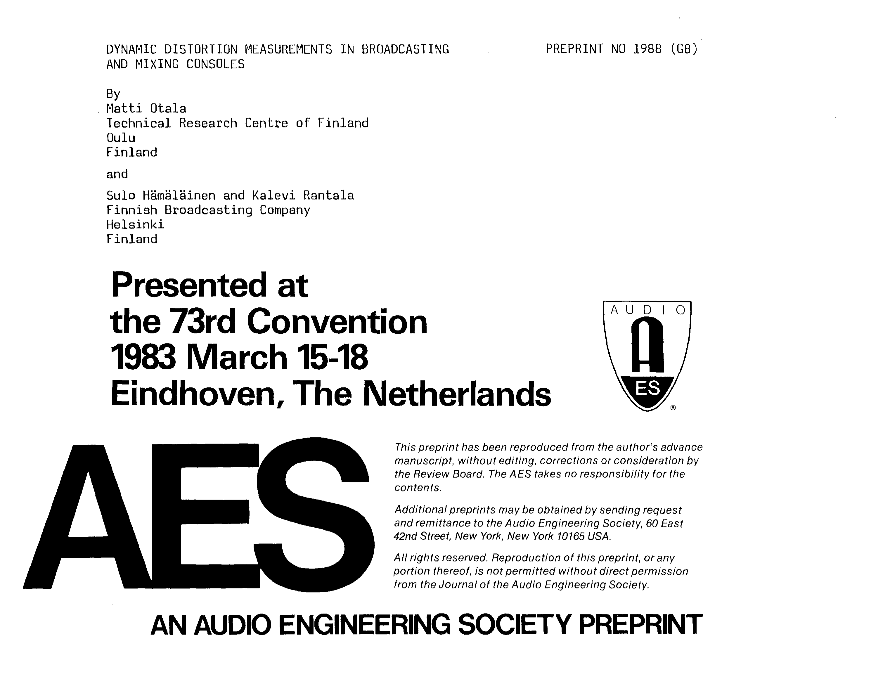 Aes E Library Dynamic Distortion Measurements In Broadcasting And Square Wave Generator Using Ua 741 Mixing Consoles