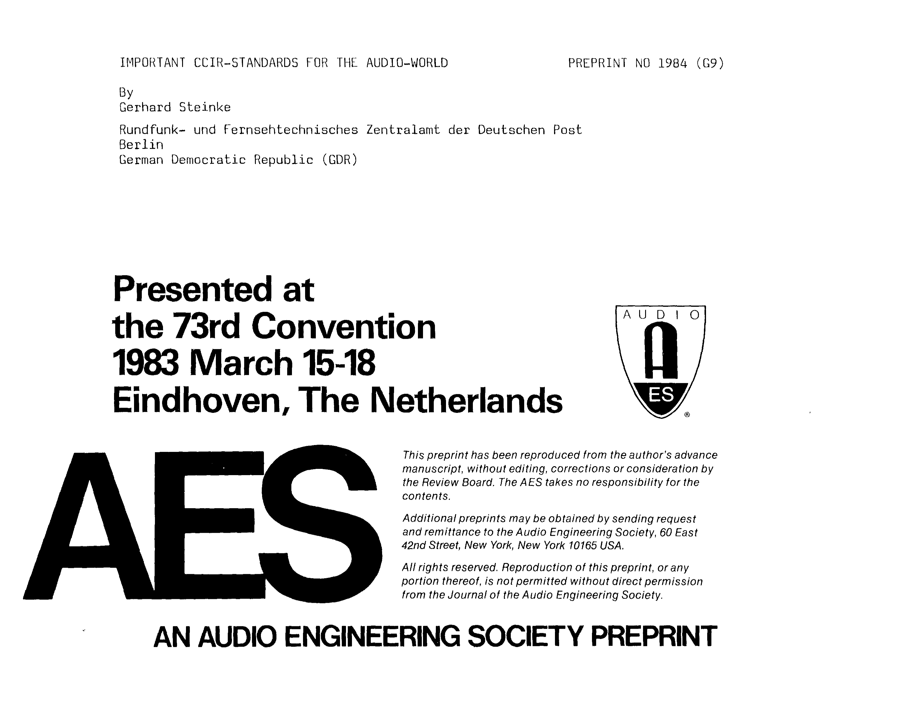 AES E-Library » Important CCIR-Standards for the Audio-World