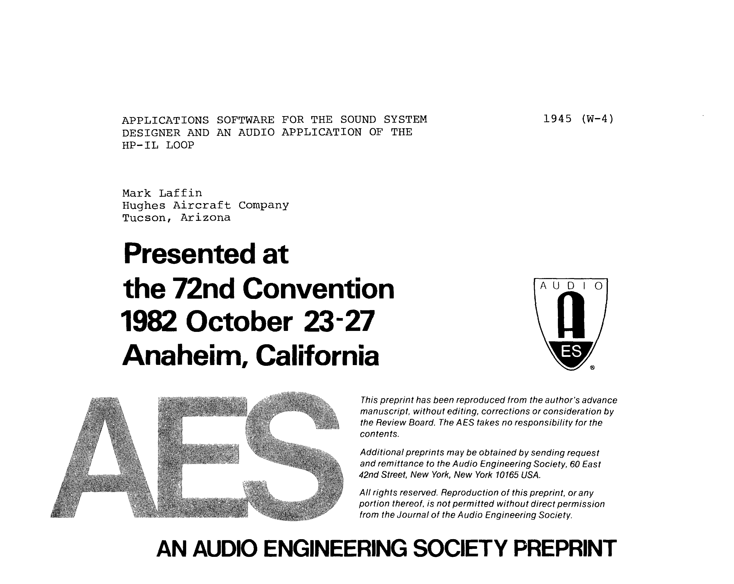 AES E-Library » Applications Software for the Sound System Designer
