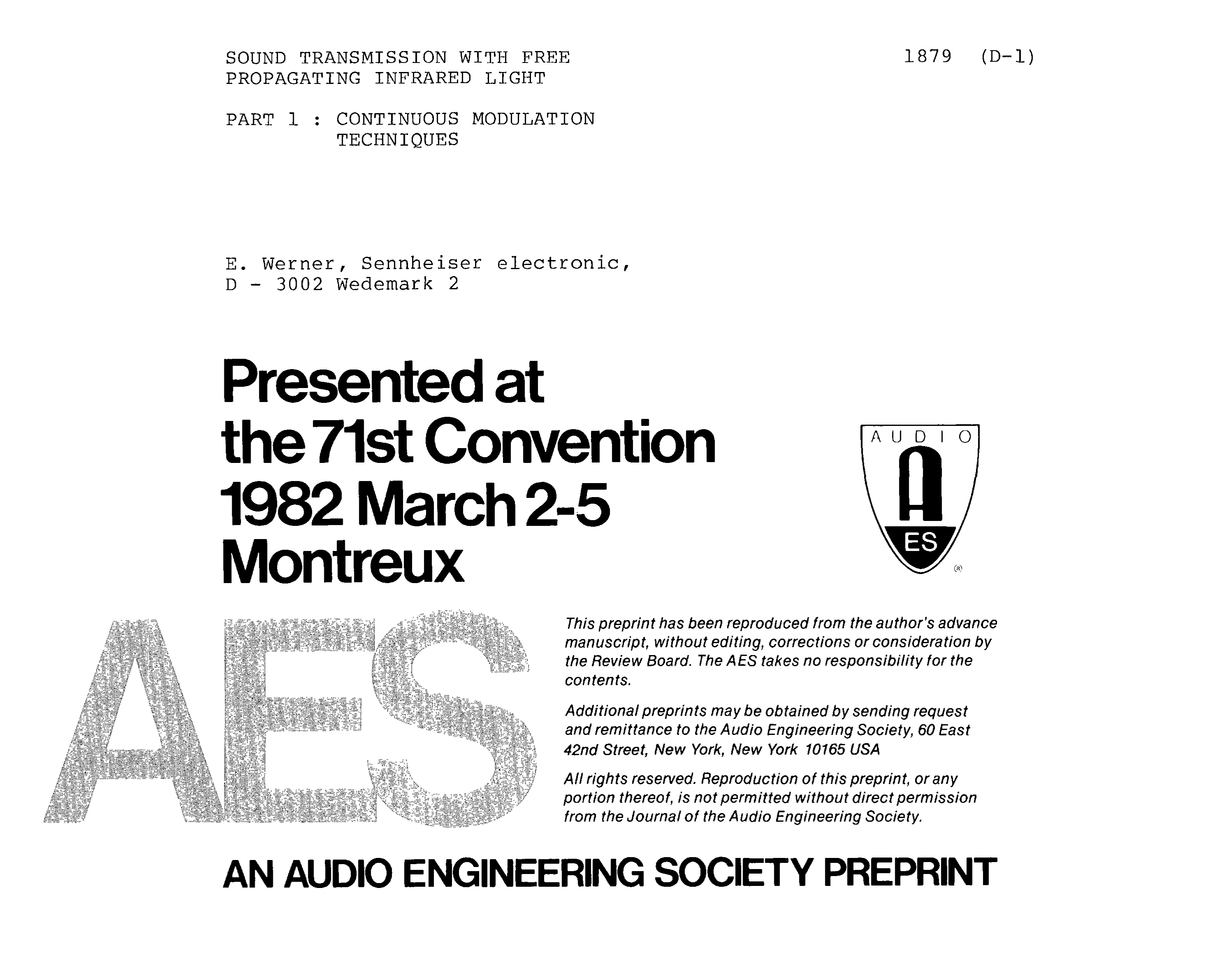 Aes E Library Sound Transmission With Free Propagating Infrared Headphones Transmitter Circuit Light Part 1 Continuous Modulation Techniques