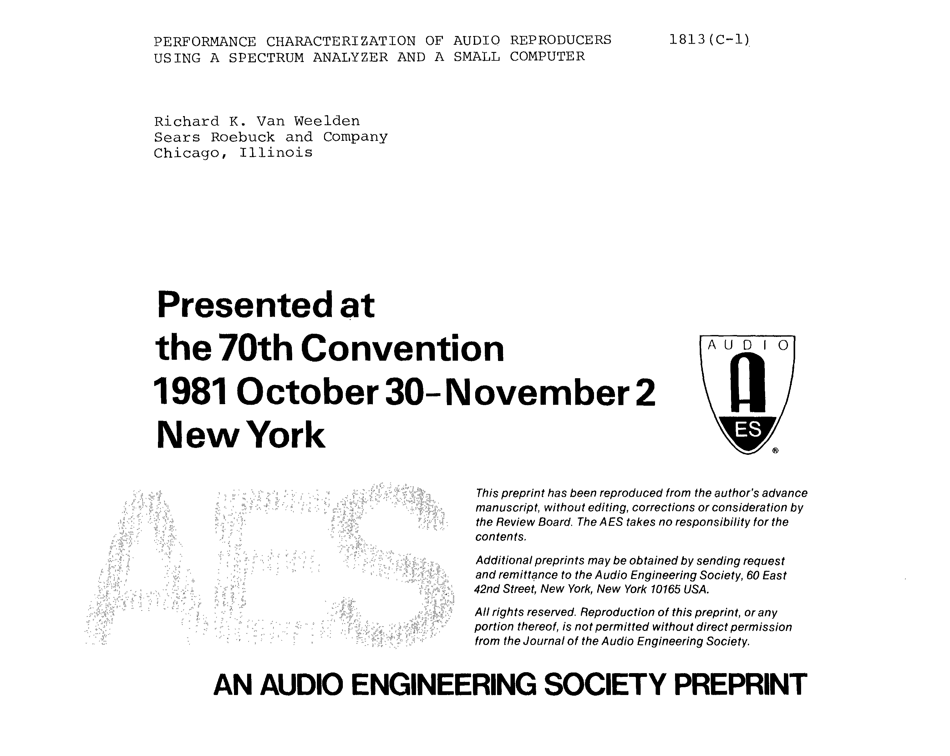 AES E-Library » Performance Characterization of Audio