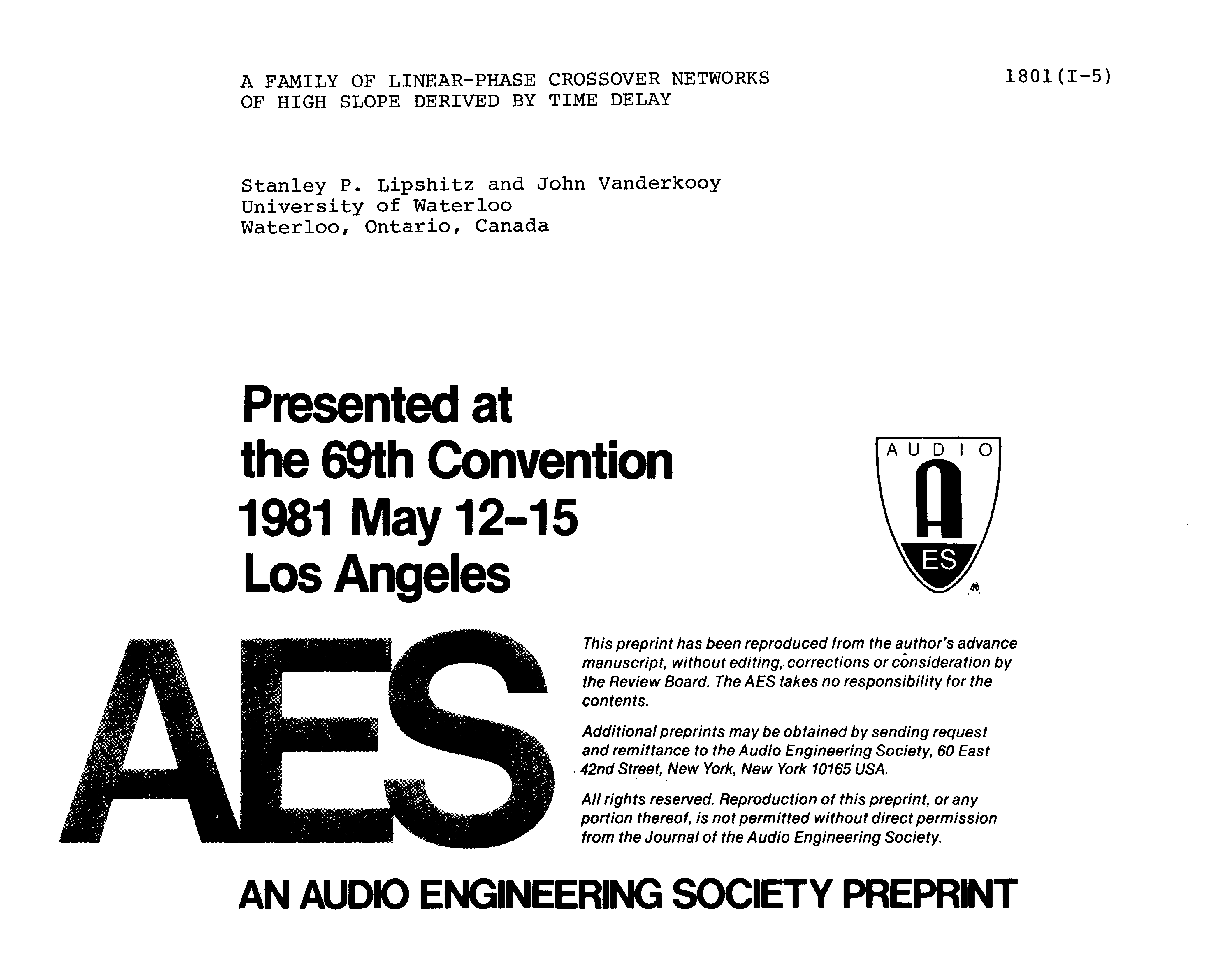 Aes E Library A Family Of Linear Phase Crossover Networks High Rlc Circuit Transfer Function Through Differential Equation Band Slope Derived By Time Delay