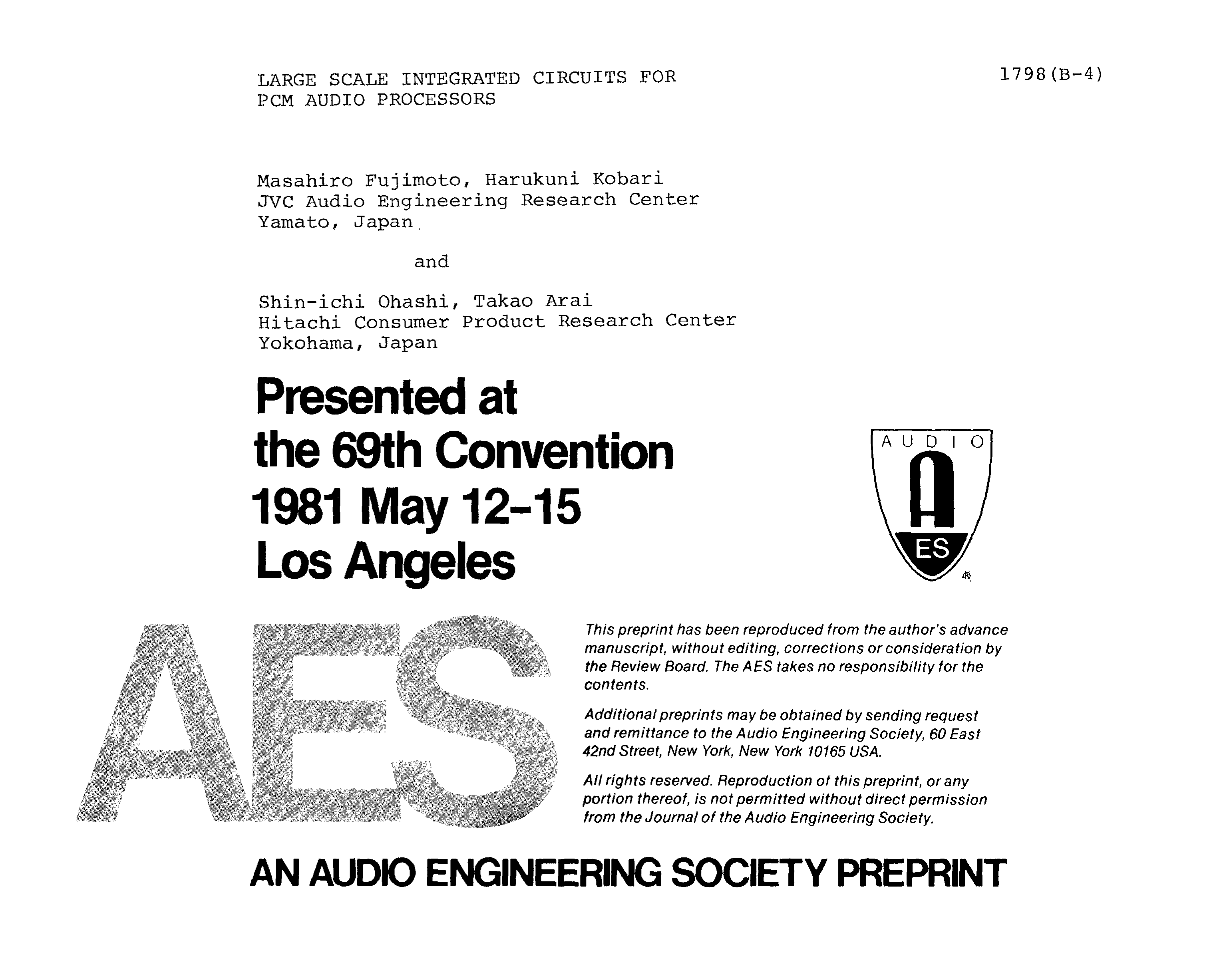 AES E-Library » Large Scale Integrated Circuits for PCM