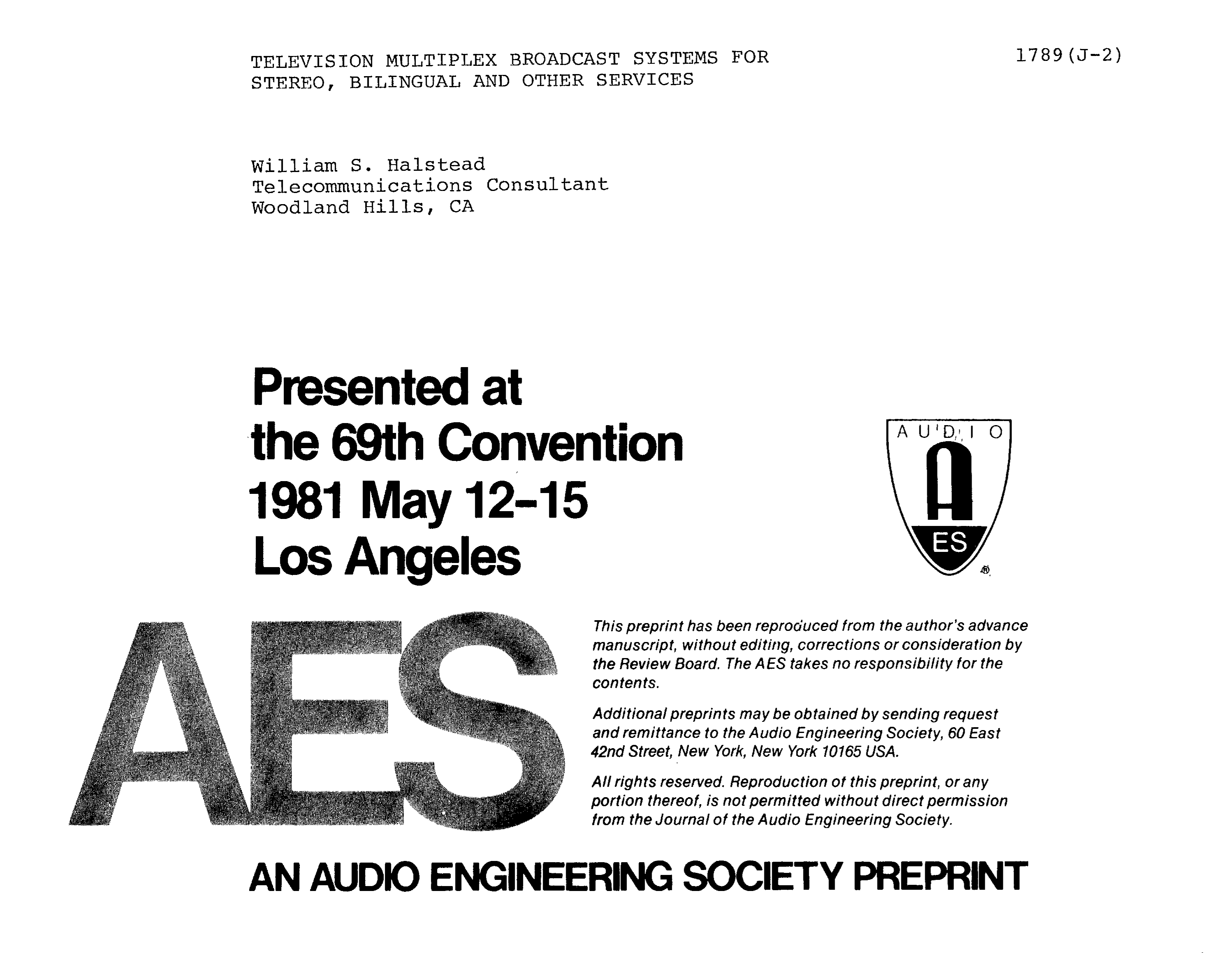 AES E-Library » Television Multiplex Broadcast Systems for Stereo