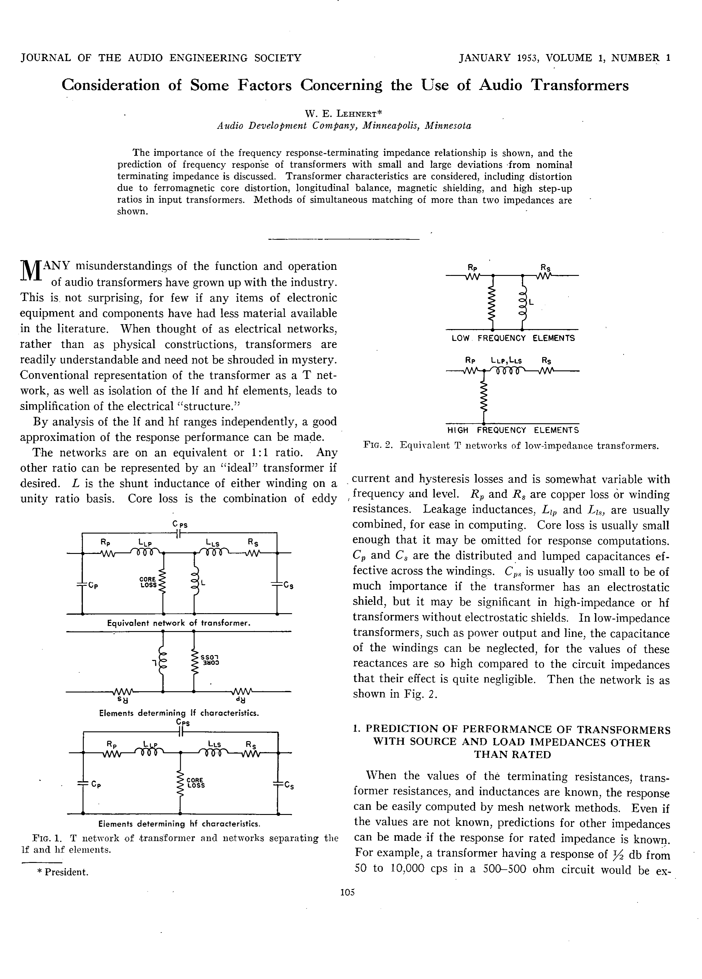 Aes E Library Consideration Of Some Factors Concerning The Use Audio Isolation Transformers