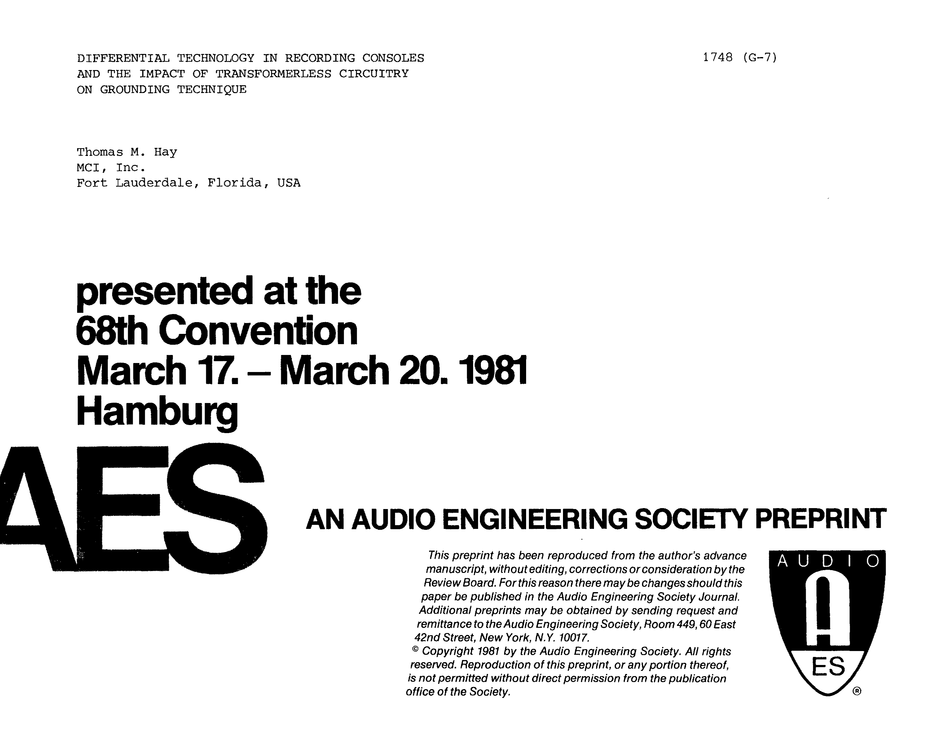 Aes E Library Differential Technology In Recording Consoles And 1450 Microwave Oven Schematic Image Touch Control Panel Circuit The Impact Of Transformerless Circuitry On Grounding Technique