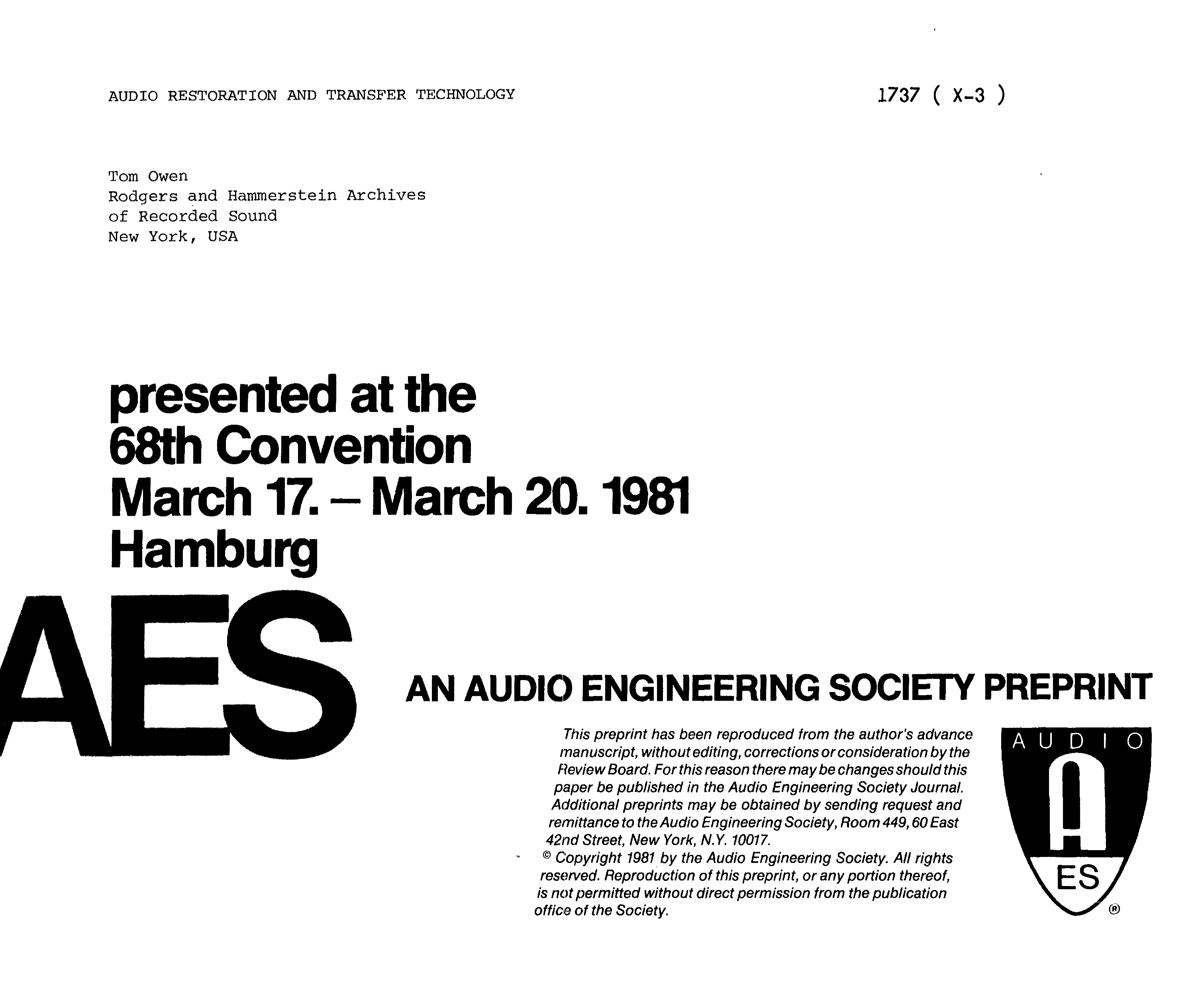 Aes E Library Audio Restoration And Transfer Technology How To Derive The Instrumentation Amplifier Function