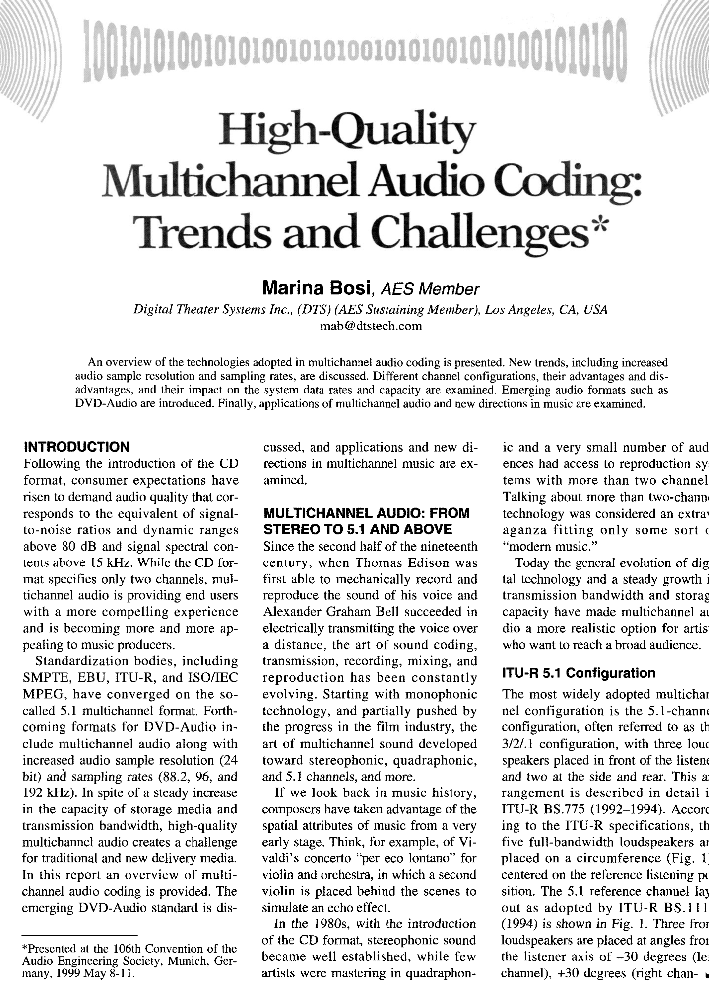 AES E-Library » High-Quality Multichannel Audio Coding: Trends and