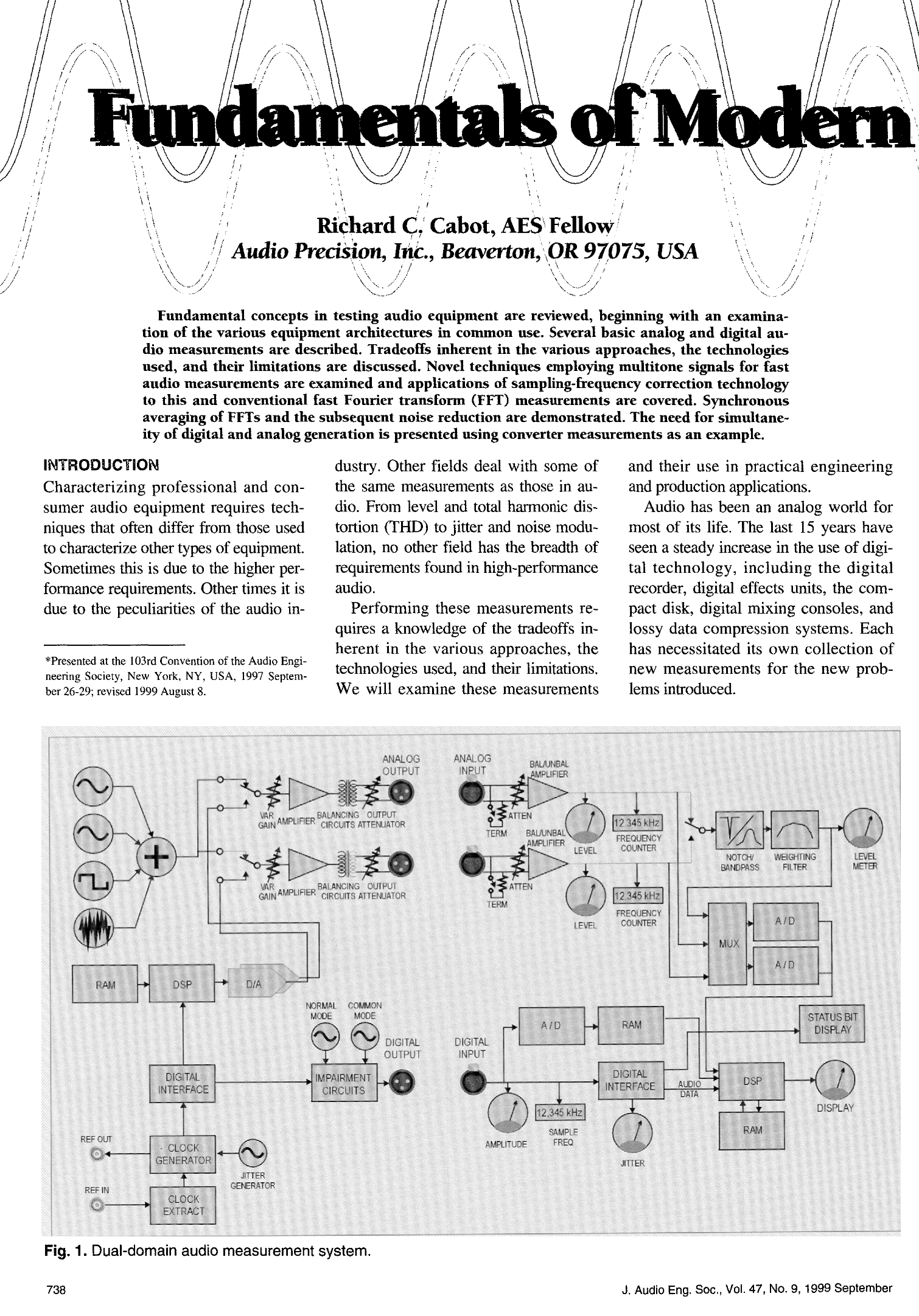 AES E-Library » Fundamentals of Modern Audio Measurement