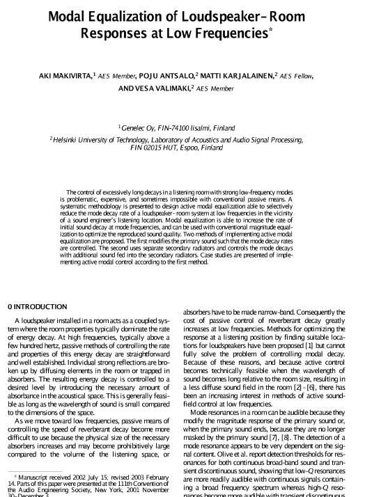 AES E-Library » Modal Equalization of Loudspeaker - Room