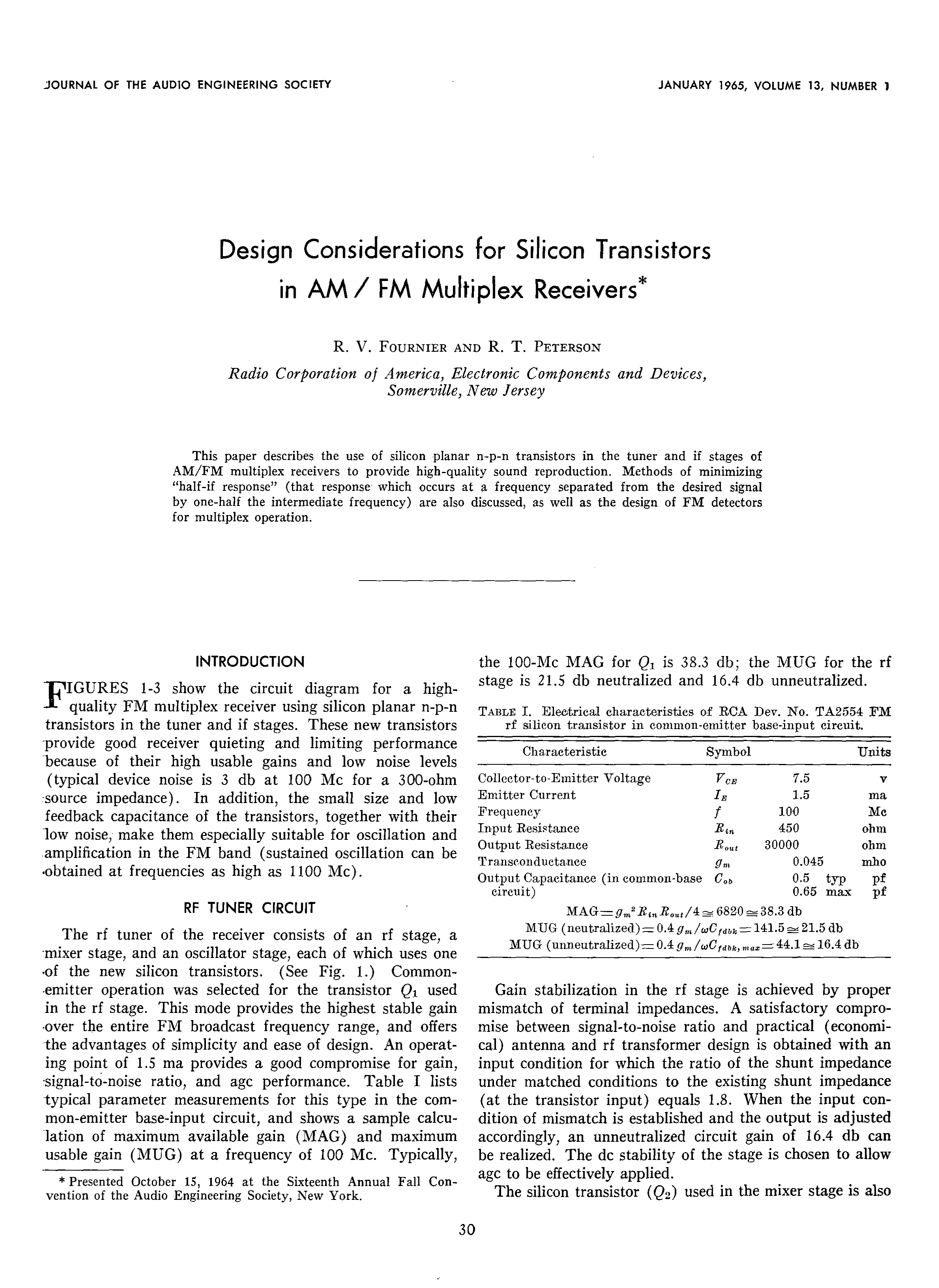 Aes E Library Design Considerations For Silicon Transistors In Am Transistor Fm Tracking Transmitter Circuit Diagram Multiplex Receivers