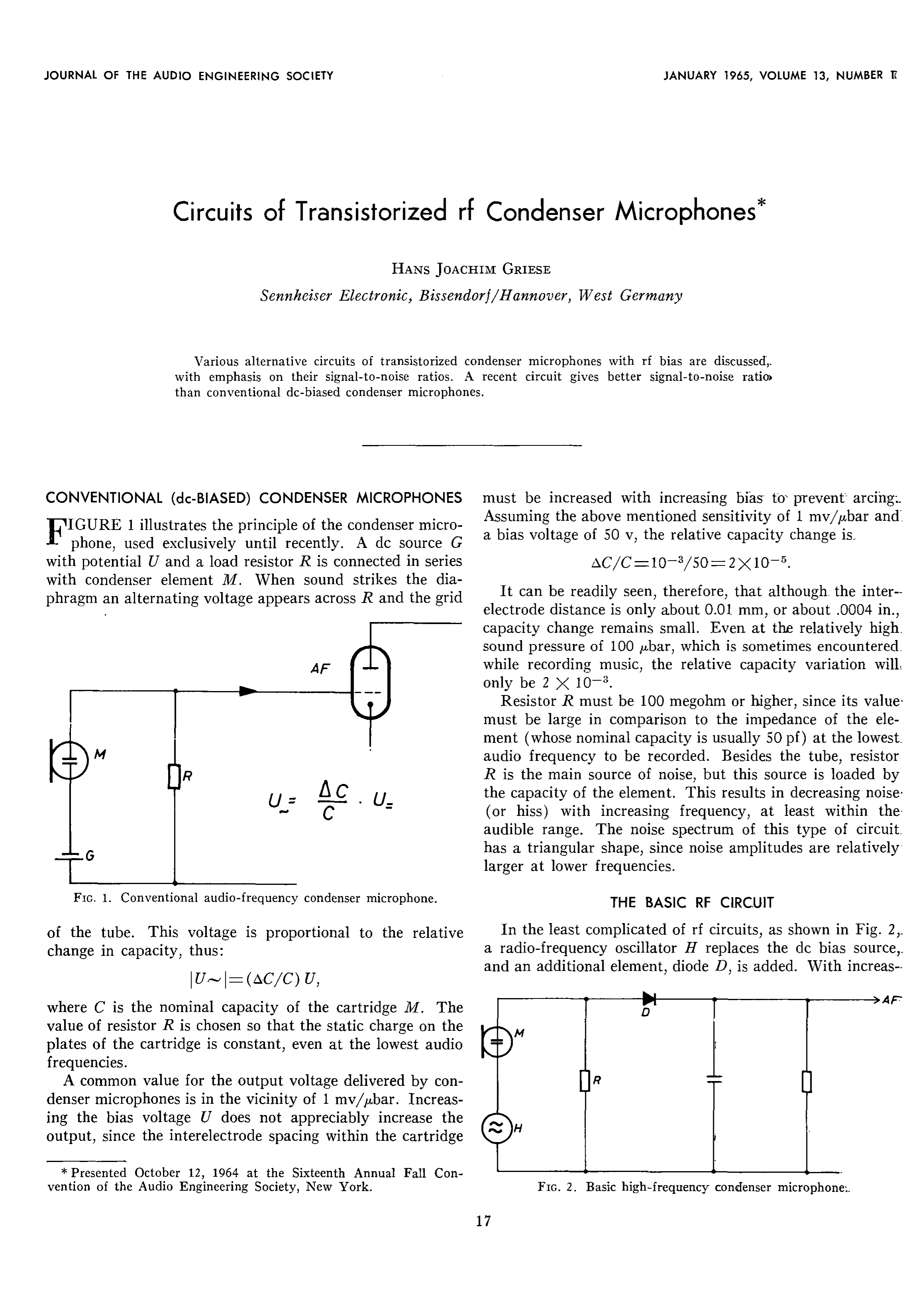 AES E-Library » Circuits of Transistorized rf Condenser Microphones
