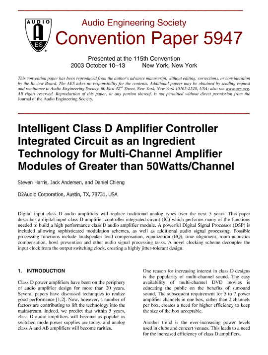 AES E-Library » Intelligent Class D Amplifier Controller Integrated
