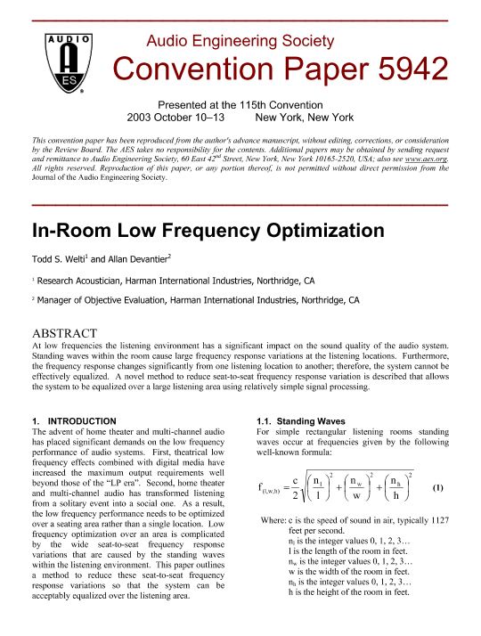 AES E-Library » In-Room Low Frequency Optimization