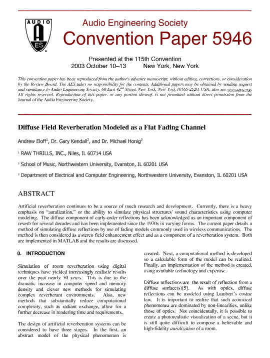 AES E-Library » Diffuse Field Reverberation Modeled as a Flat Fading