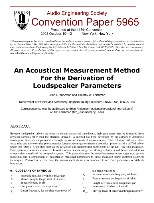 AES E-Library » An Acoustical Measurement Method for the