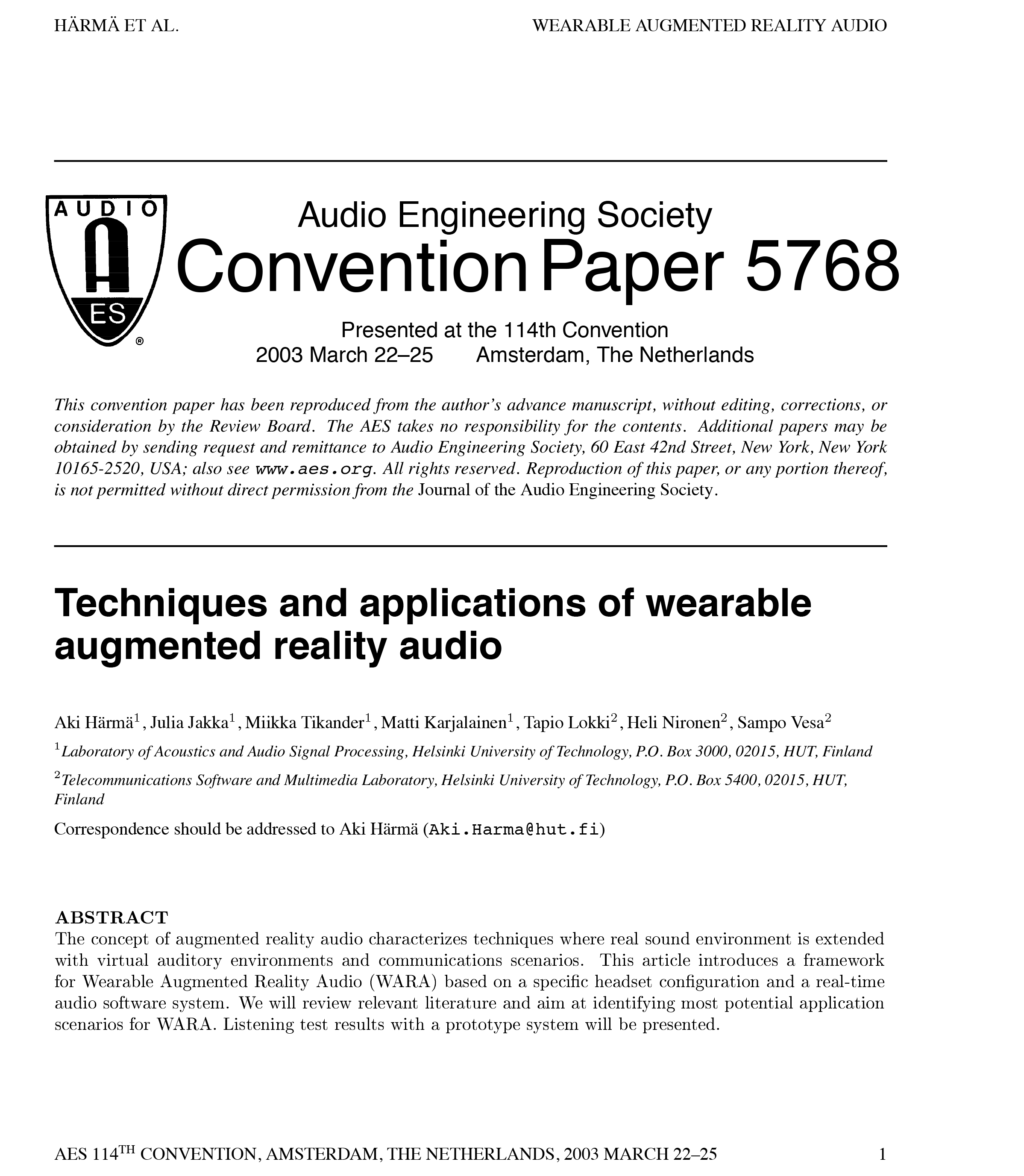 c0541b382292 AES E-Library. Techniques and Applications of Wearable Augmented Reality  Audio. Document Thumbnail