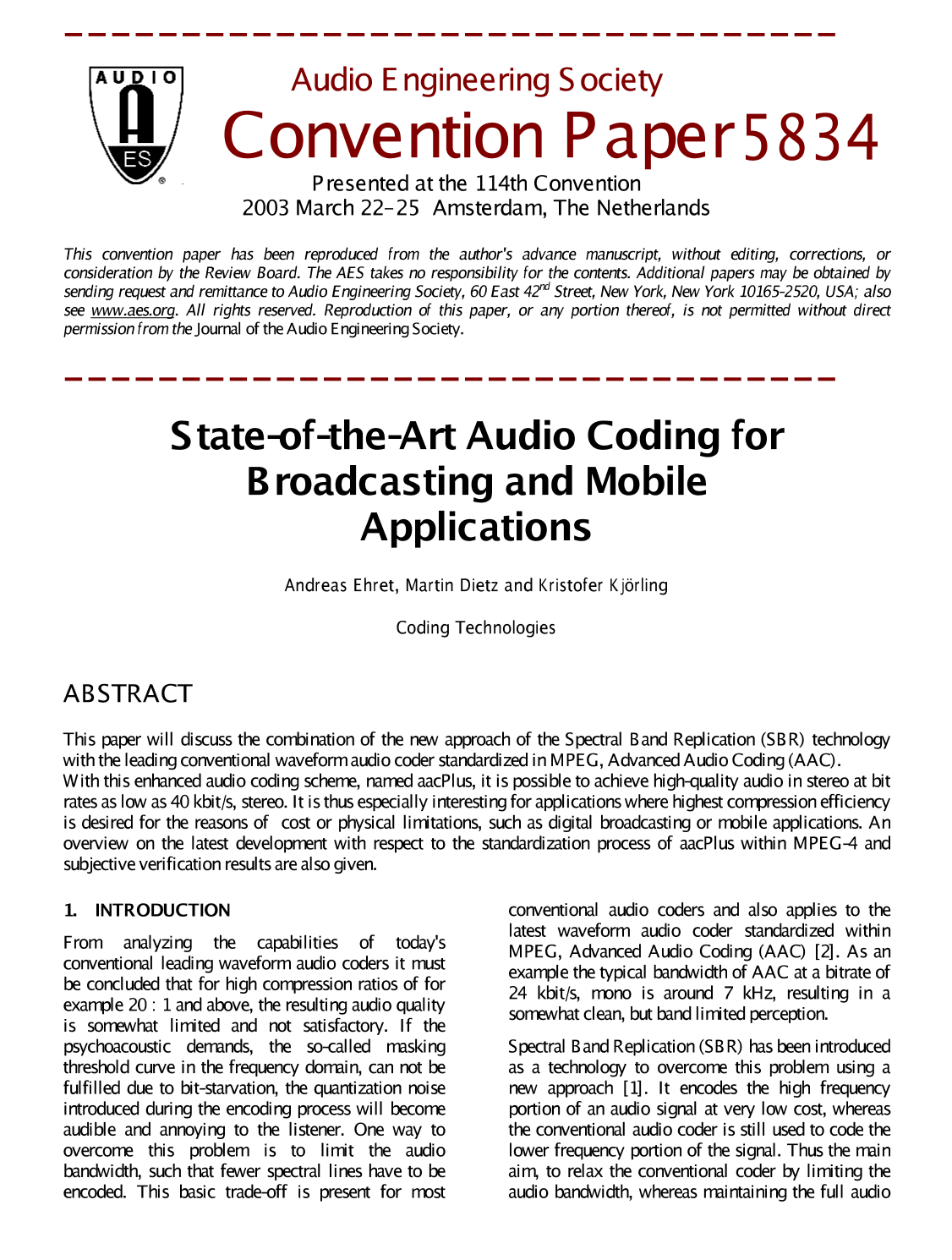 e library state of the art audio coding for broadcasting and  e library state of the art audio coding for broadcasting and mobile applications