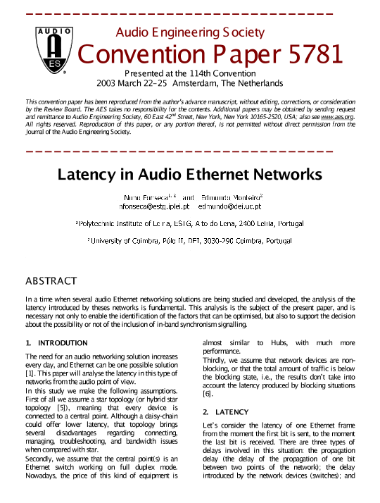 AES E-Library » Latency in Audio Ethernet Networks
