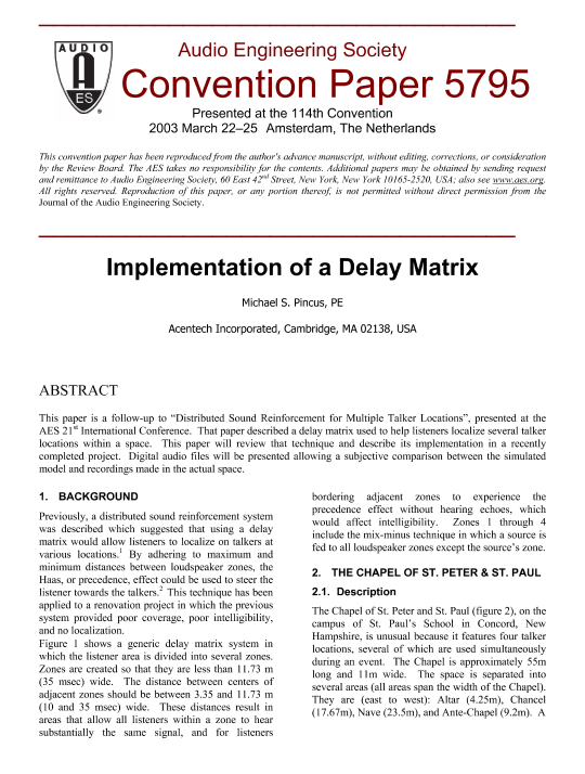 AES E-Library » Implementation of a Delay Matrix