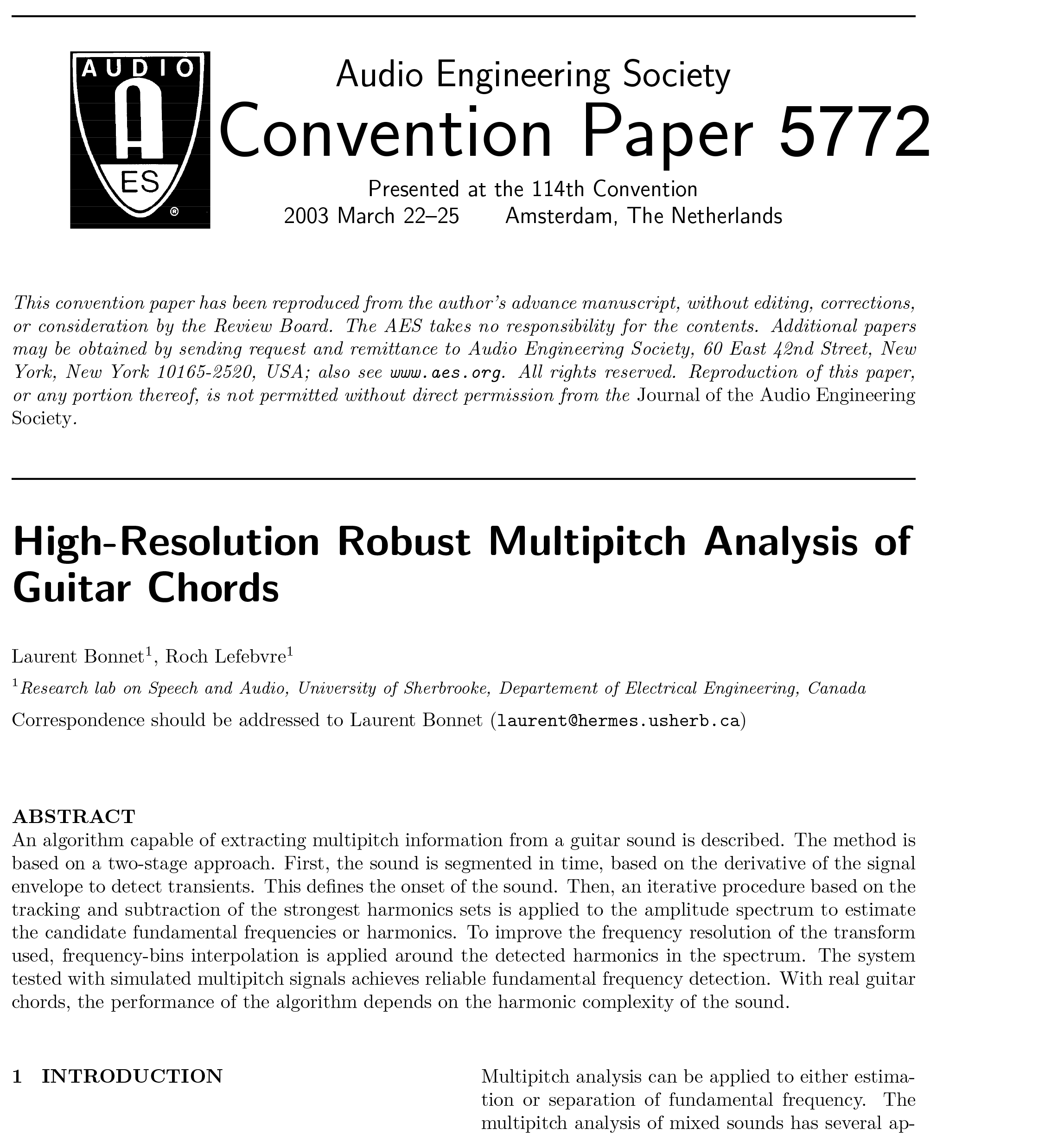 Aes E Library High Resolution Robust Multipitch Analysis Of